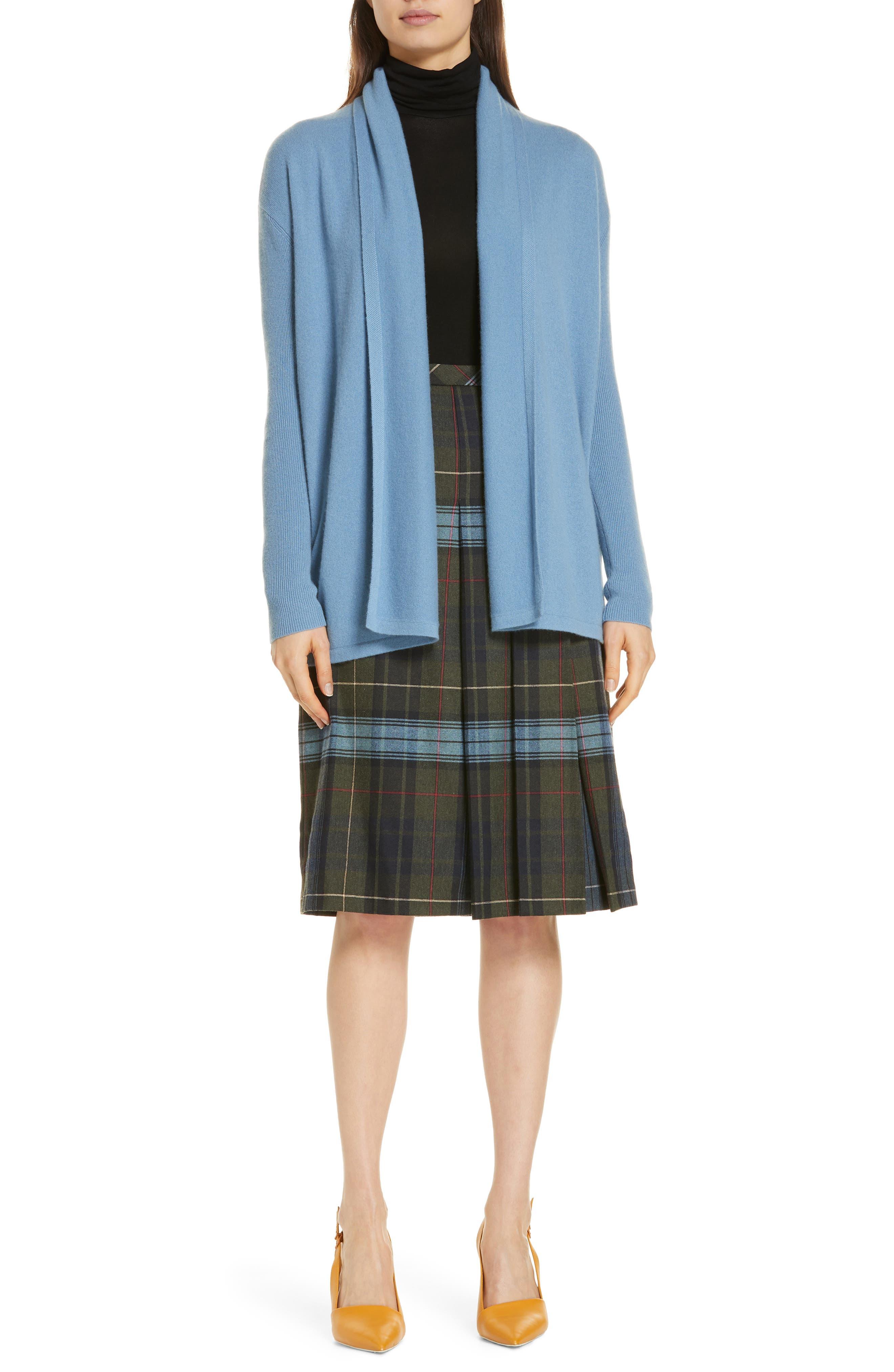 Pleat Front Plaid Skirt,                             Alternate thumbnail 7, color,                             NAVY NIGHT YORK PLAID