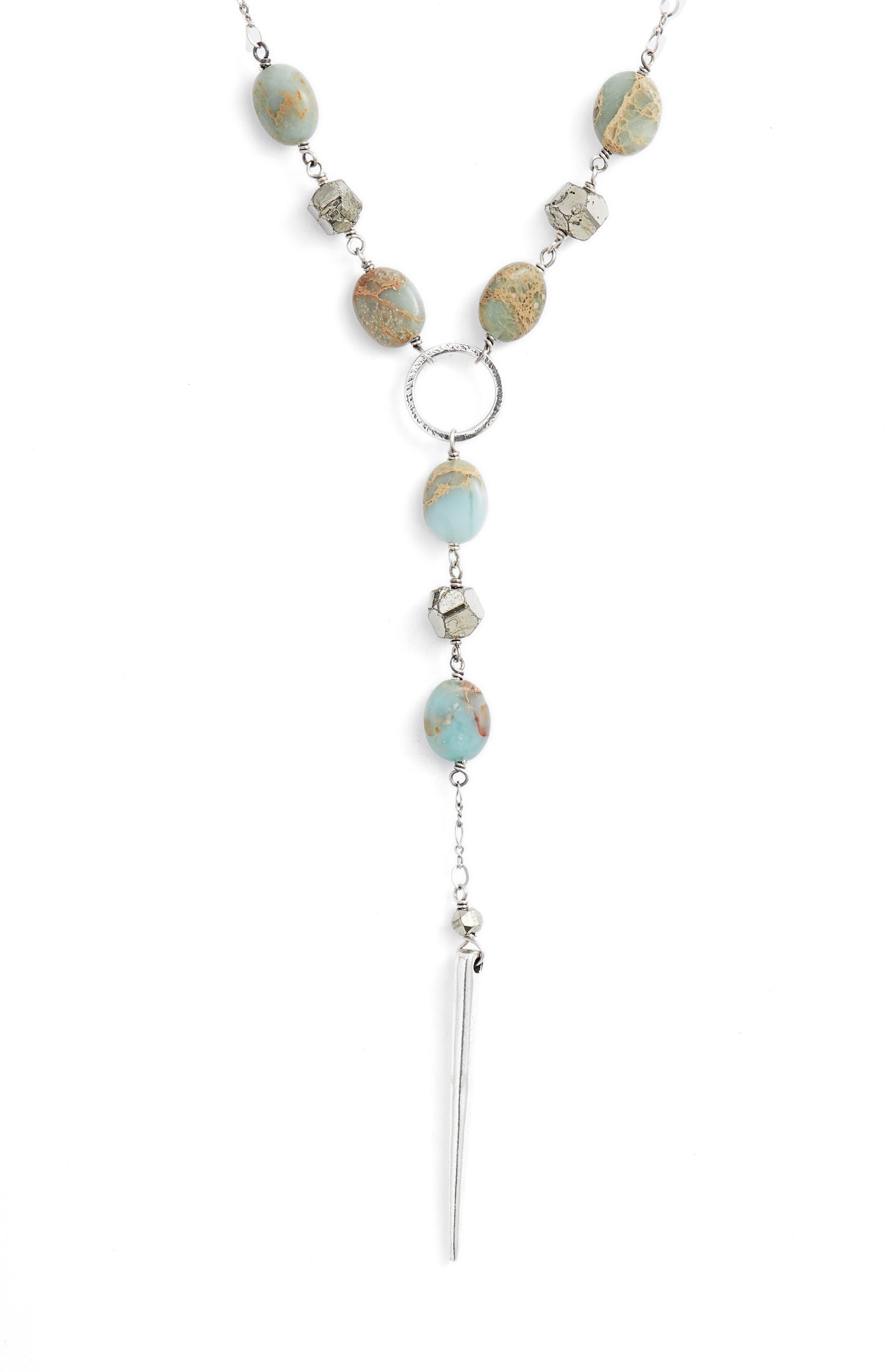 Mixed Stone Dagger Pendant Necklace,                         Main,                         color, AQUA TERRA
