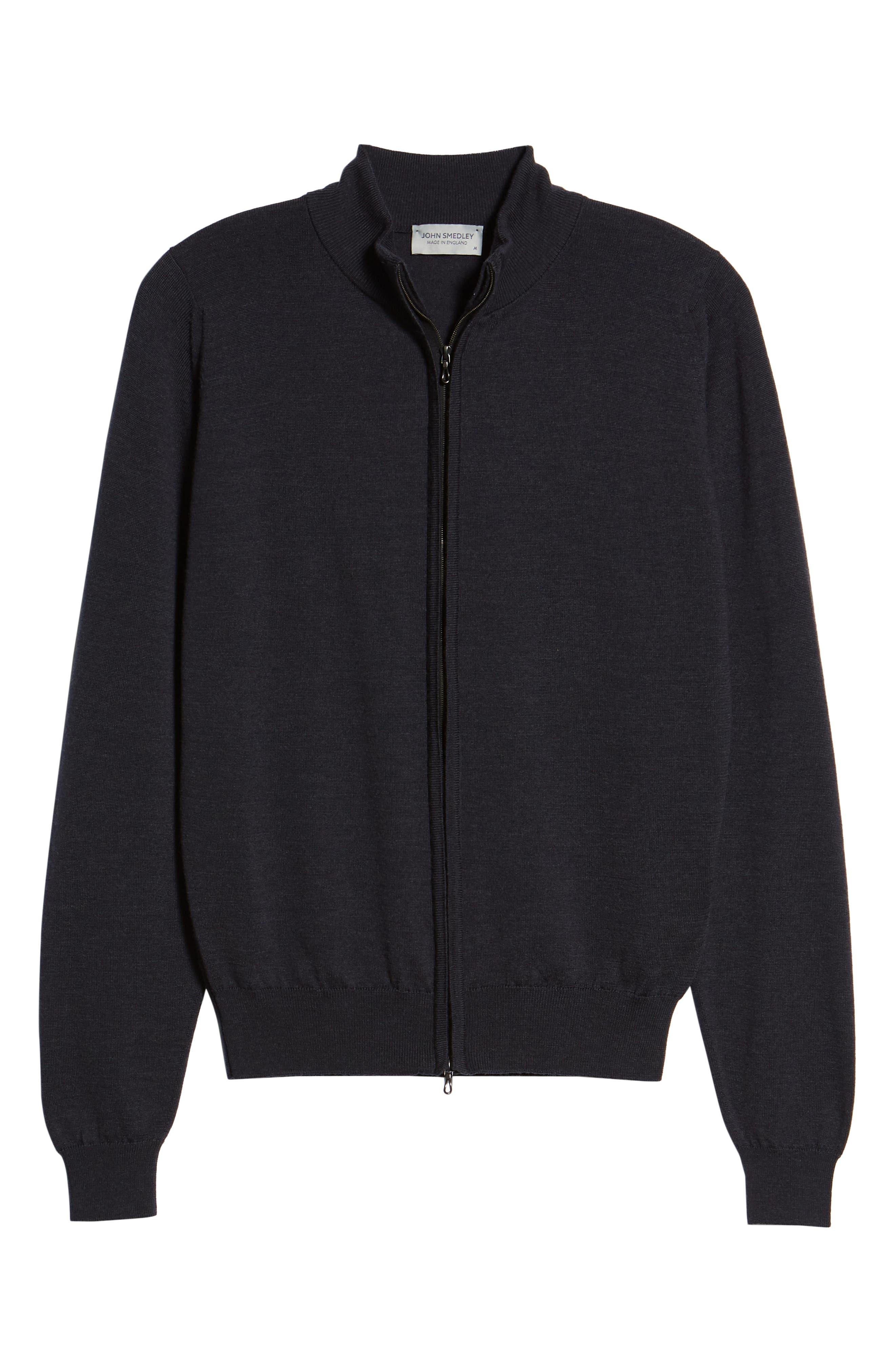 Claygate Slim Fit Merino Wool Zip Jacket,                             Alternate thumbnail 6, color,                             HEPBURN SMOKE