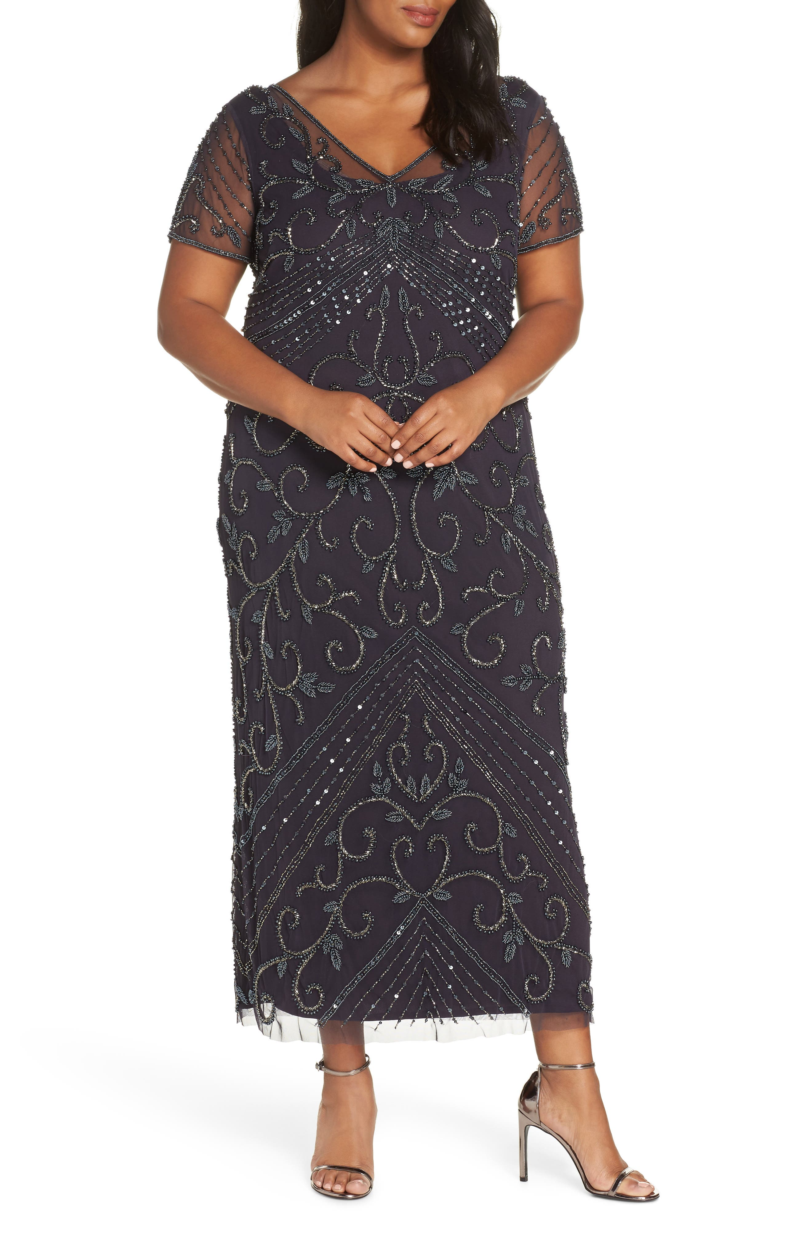 Plus Size Pisarro Nights Beaded Mesh Gown, Purple