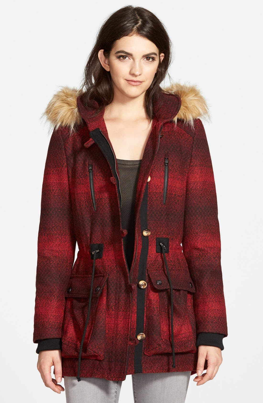 'Red Stripe' Hooded Duffle Coat with Faux Fur Trim,                         Main,                         color, 600