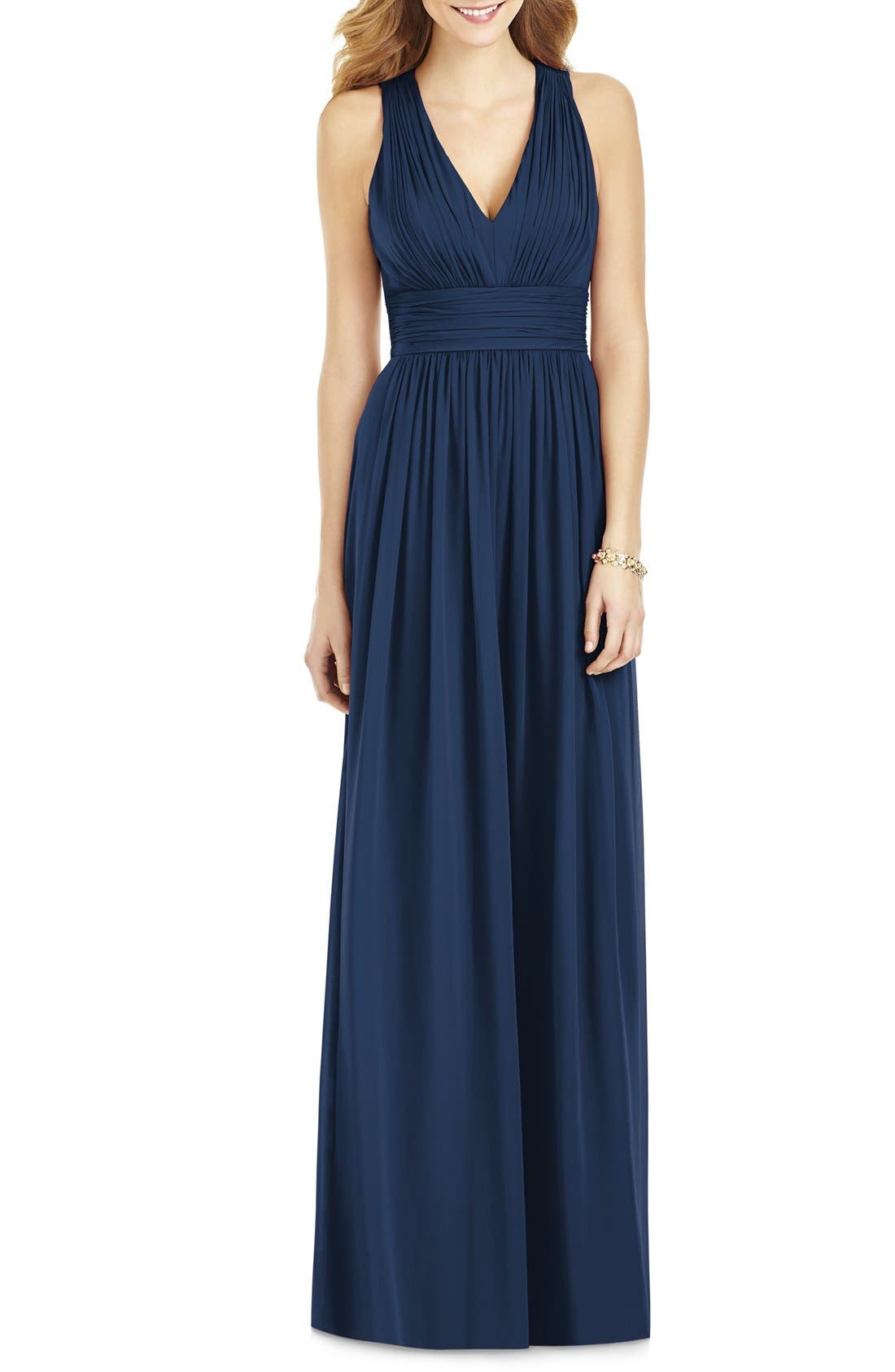 Crisscross Back Ruched Chiffon V-Neck Gown,                             Main thumbnail 1, color,                             405