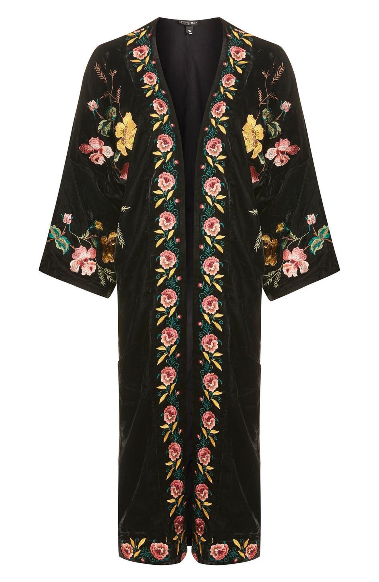Floral Embroidered Velvet Kimono,                             Alternate thumbnail 4, color,