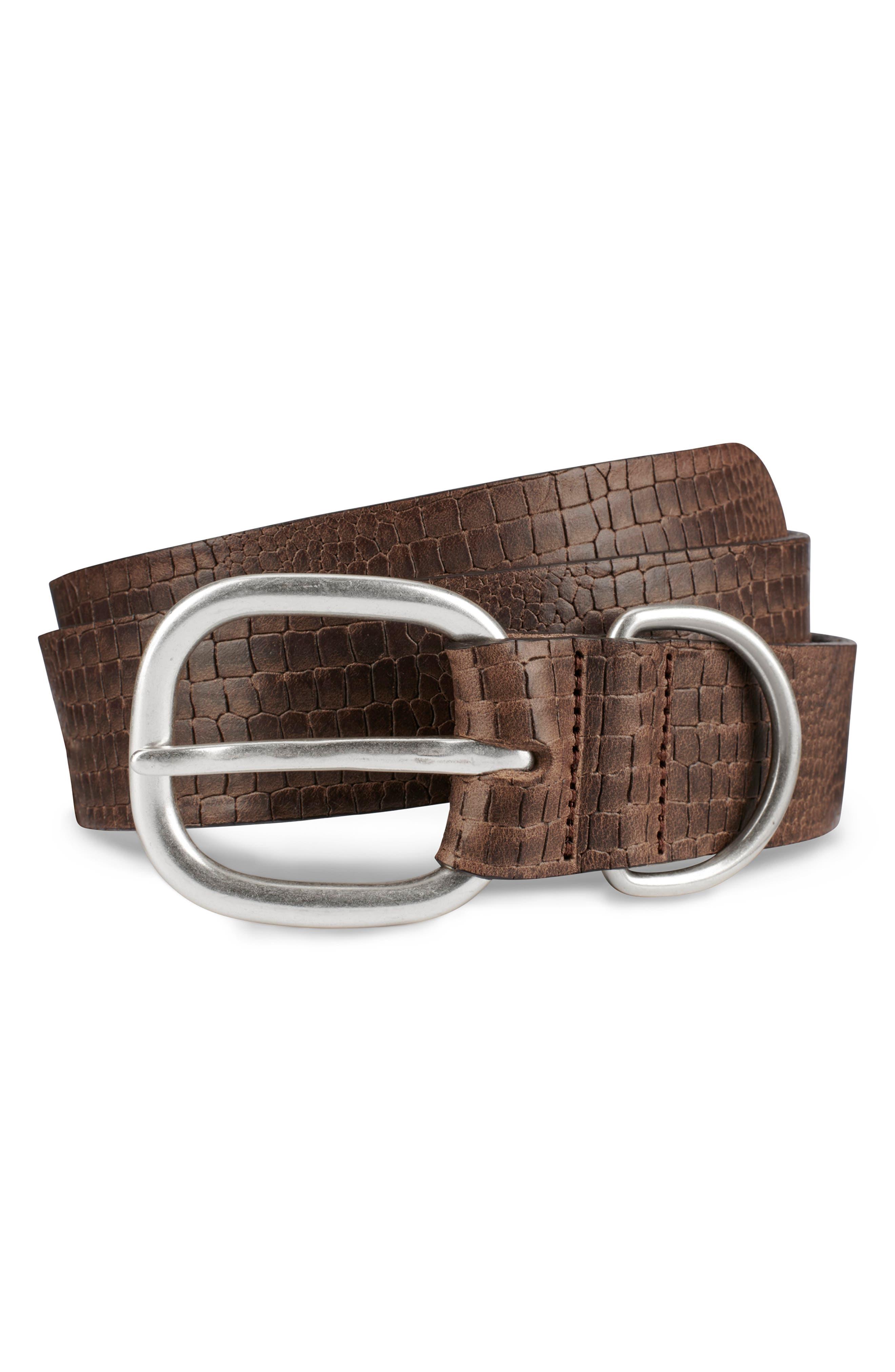 Allen Edmonds Croco Print Leather Belt, Natural