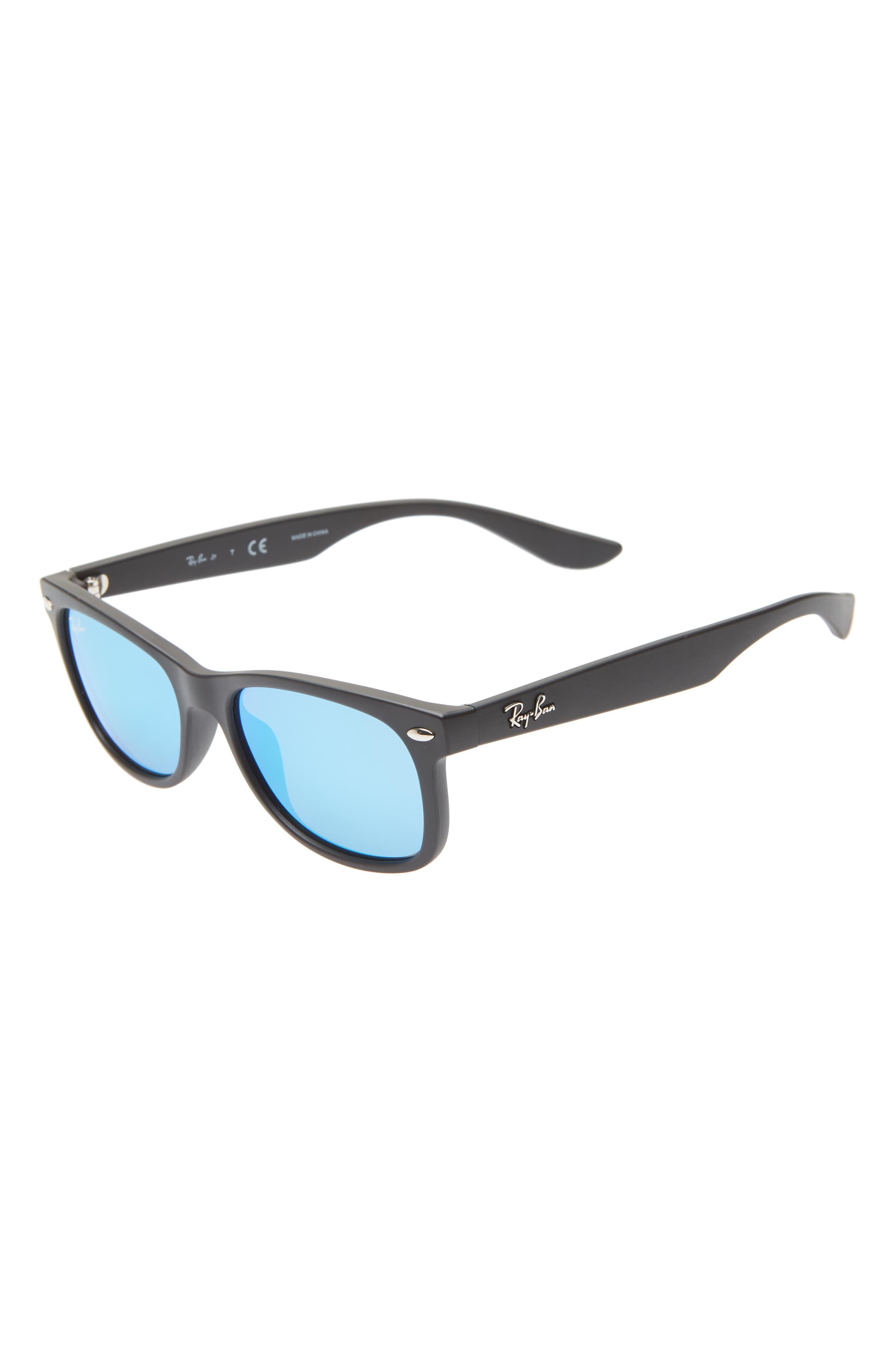 RAY-BAN,                             Junior 47mm Wayfarer Mirrored Sunglasses,                             Main thumbnail 1, color,                             BLACK/ BLUE MIRROR