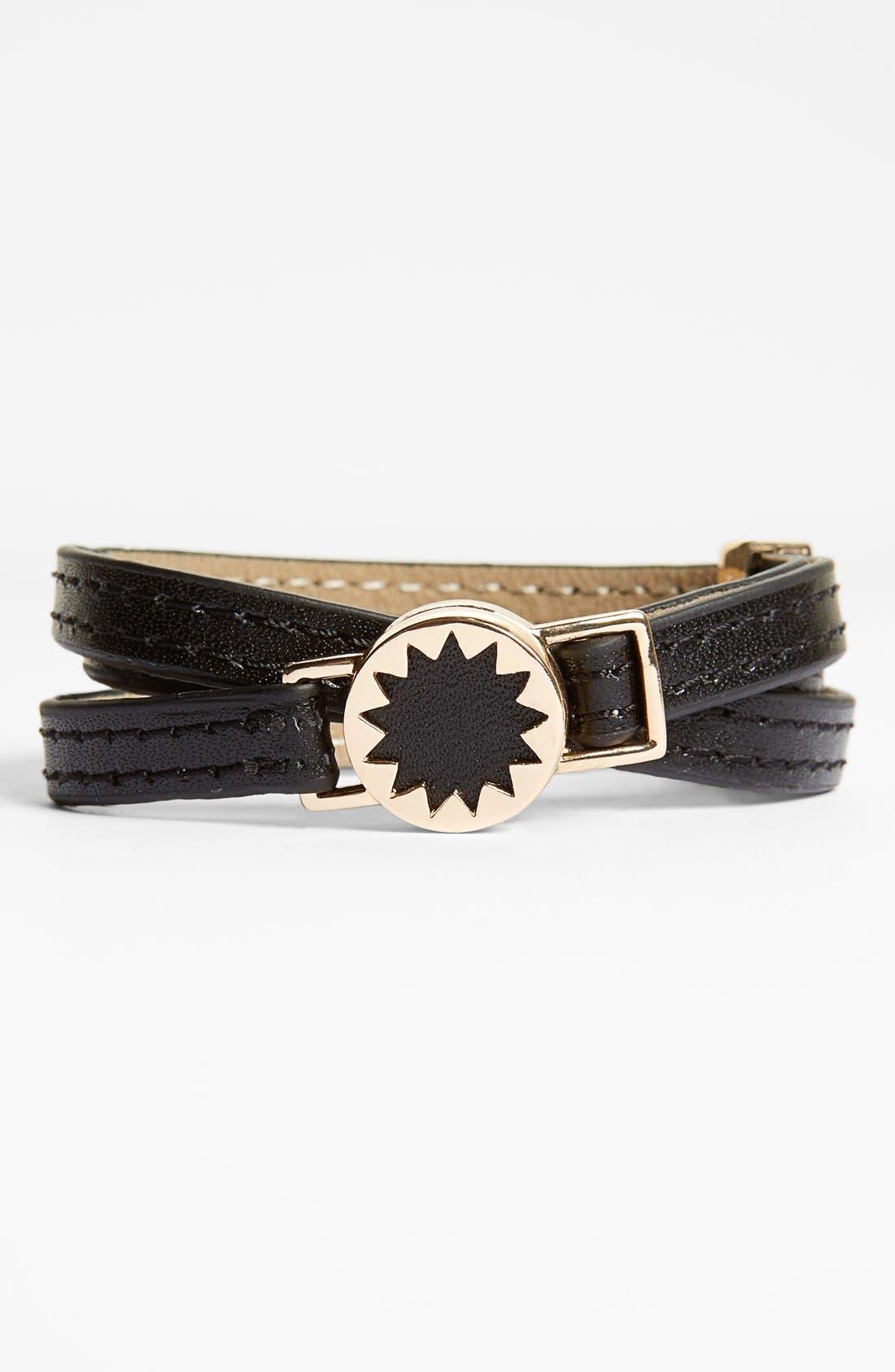 HOUSE OF HARLOW 1960 Sunburst Leather Wrap Bracelet, Main, color, 001