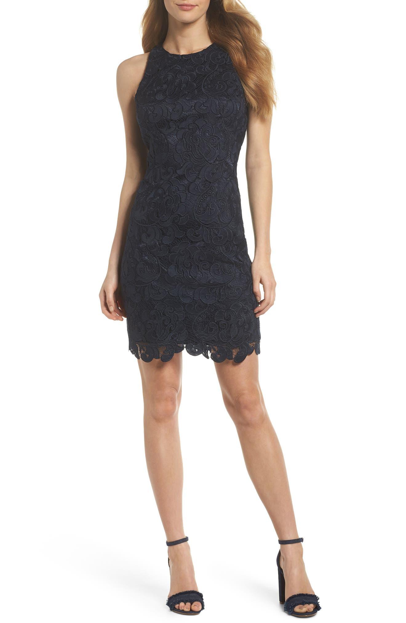 Lace Sheath Dress,                         Main,                         color, 410