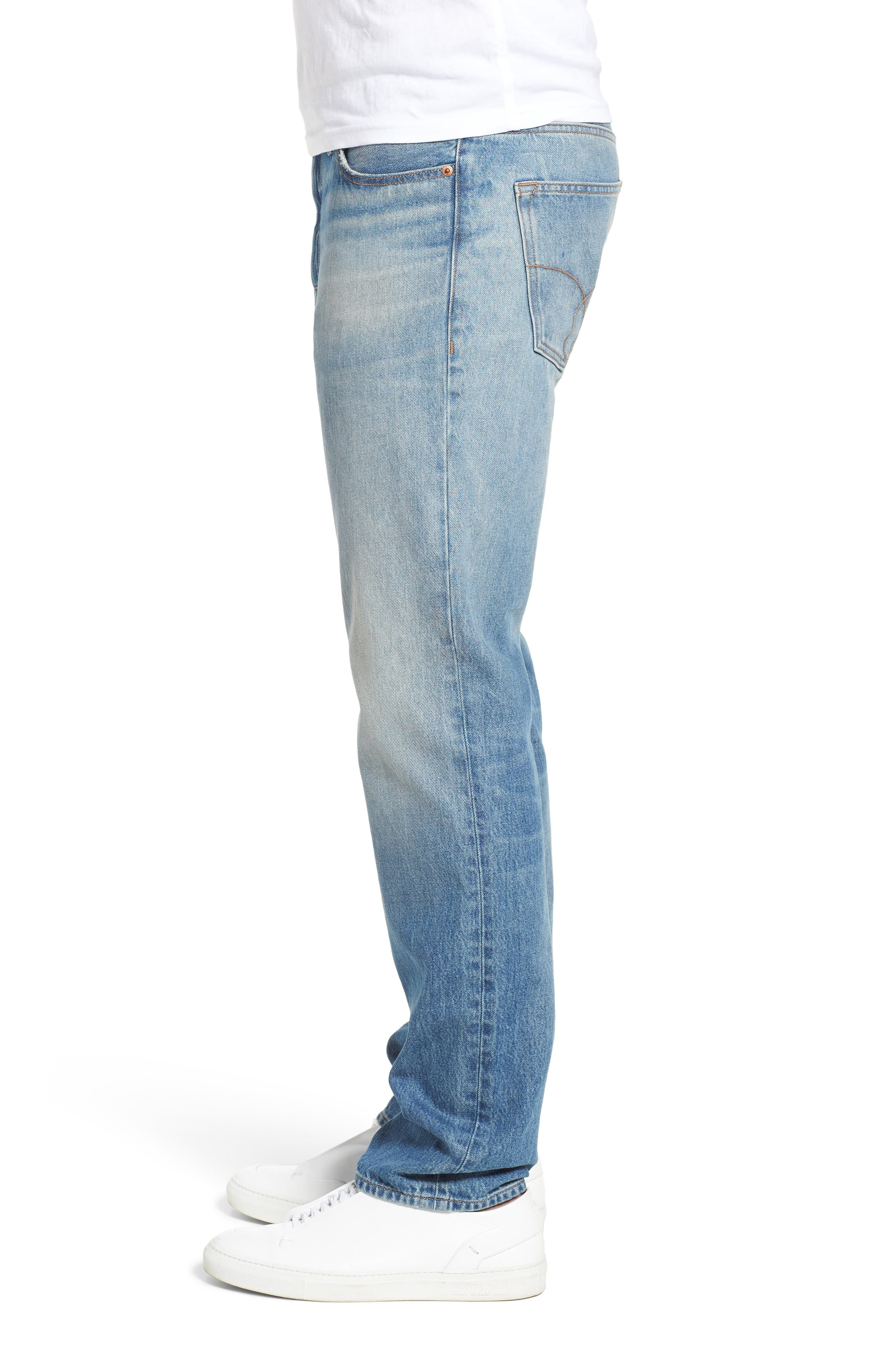Slim Straight Fit Jeans,                             Alternate thumbnail 3, color,                             400