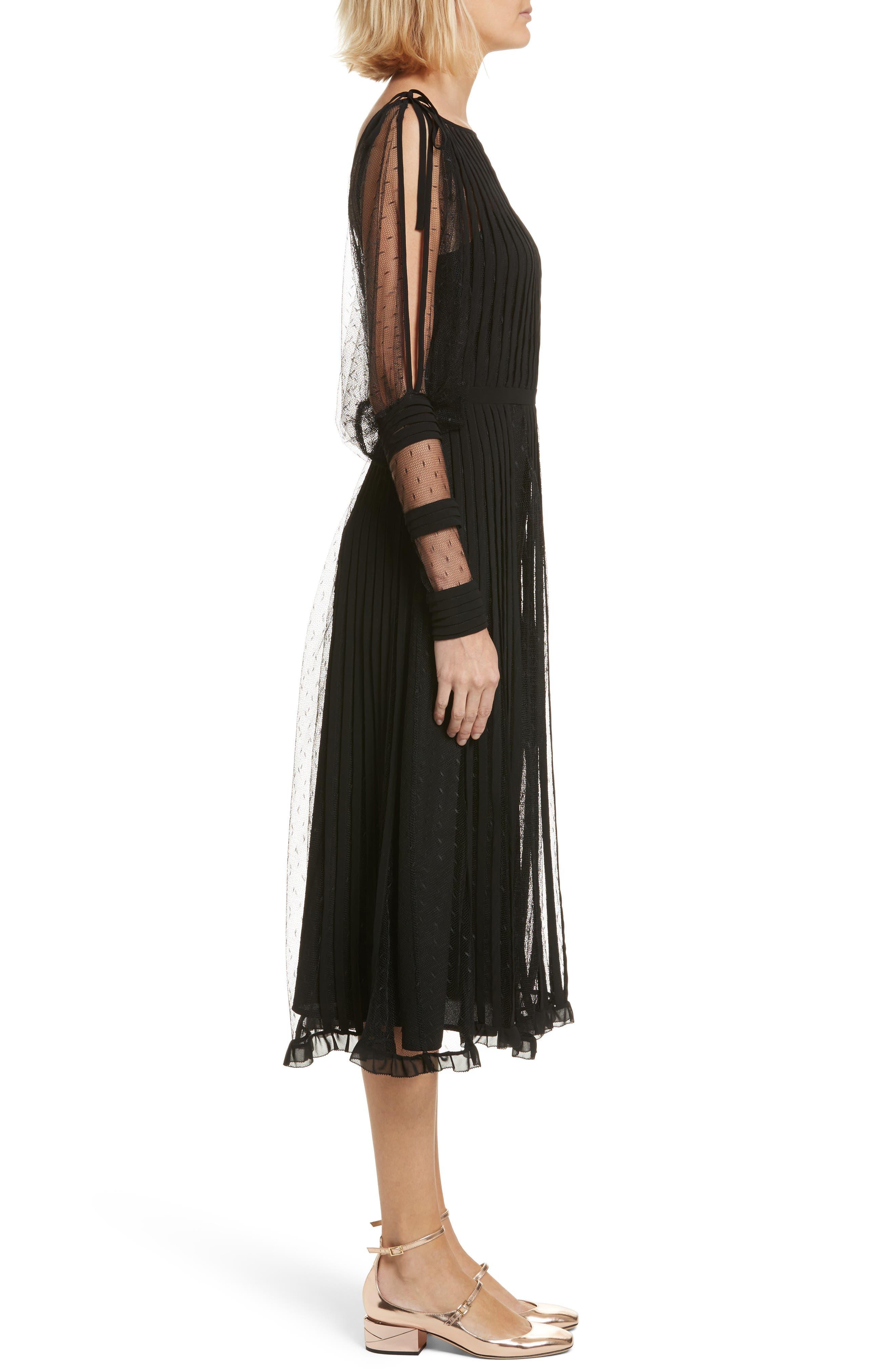 Point d'Esprit & Georgette Midi Dress,                             Alternate thumbnail 3, color,