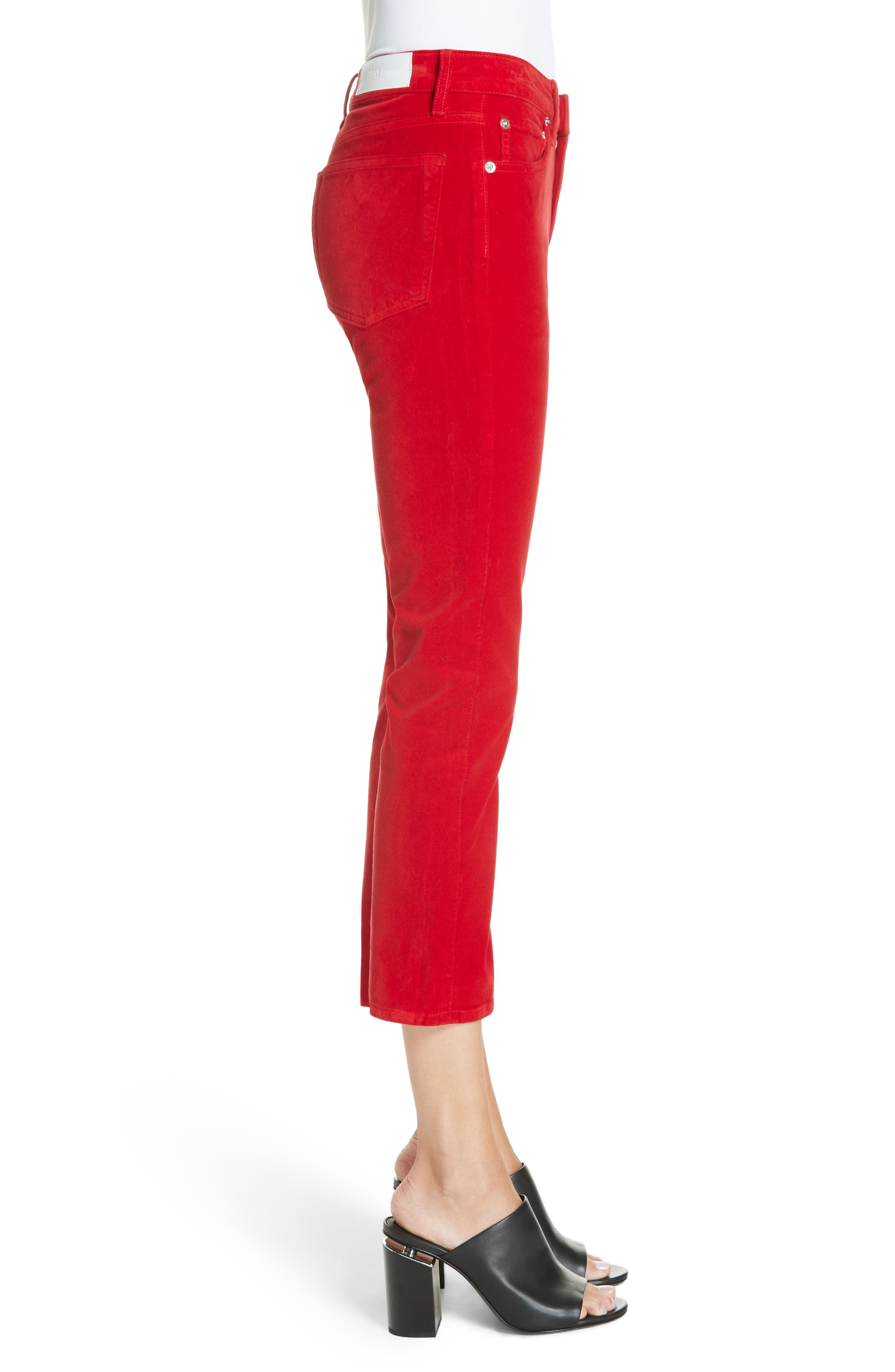 Velvet Crop Kick Flare Jeans,                             Alternate thumbnail 3, color,                             RED