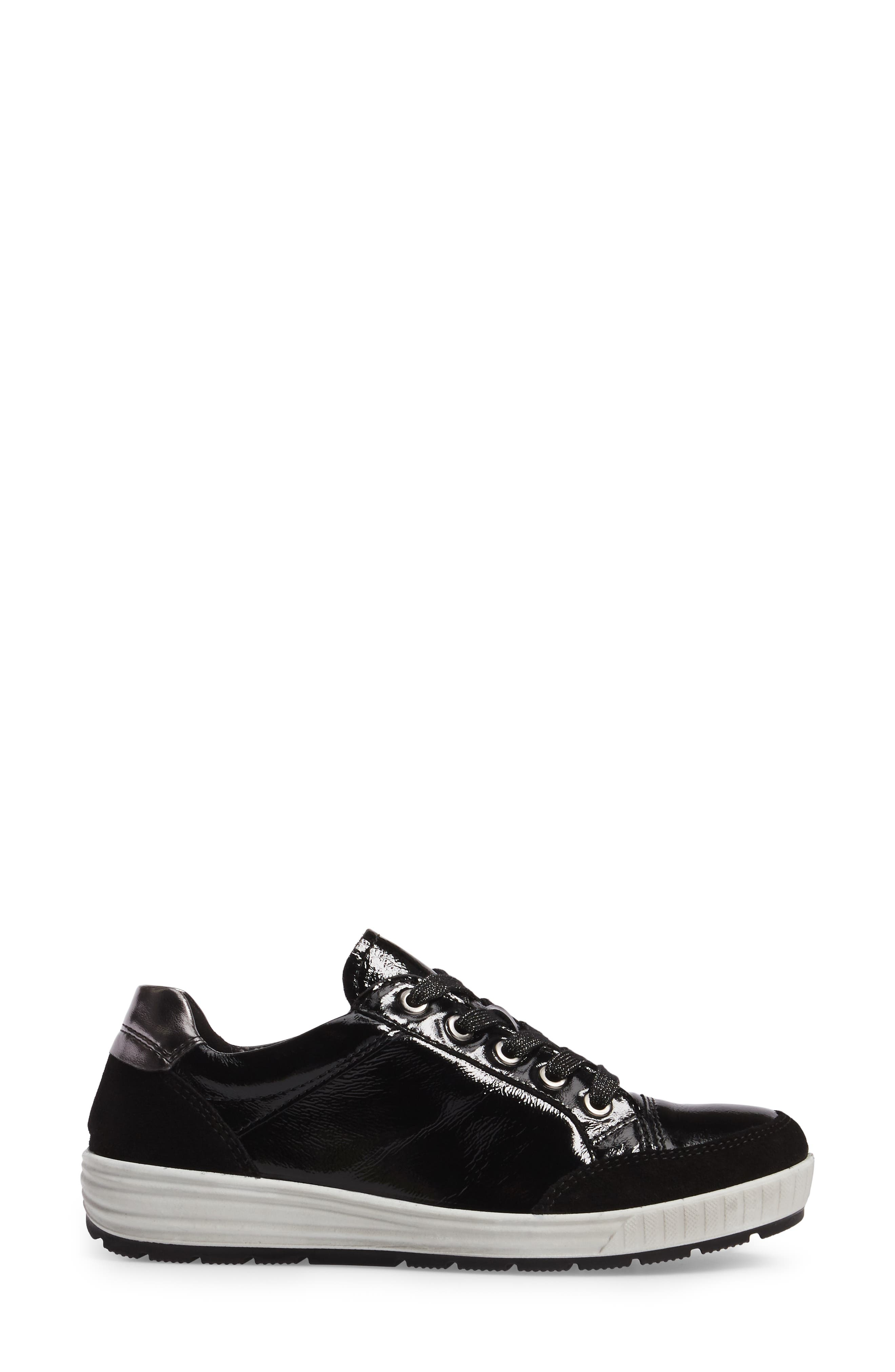 Nicole Sneaker,                             Alternate thumbnail 3, color,                             BLACK LEATHER