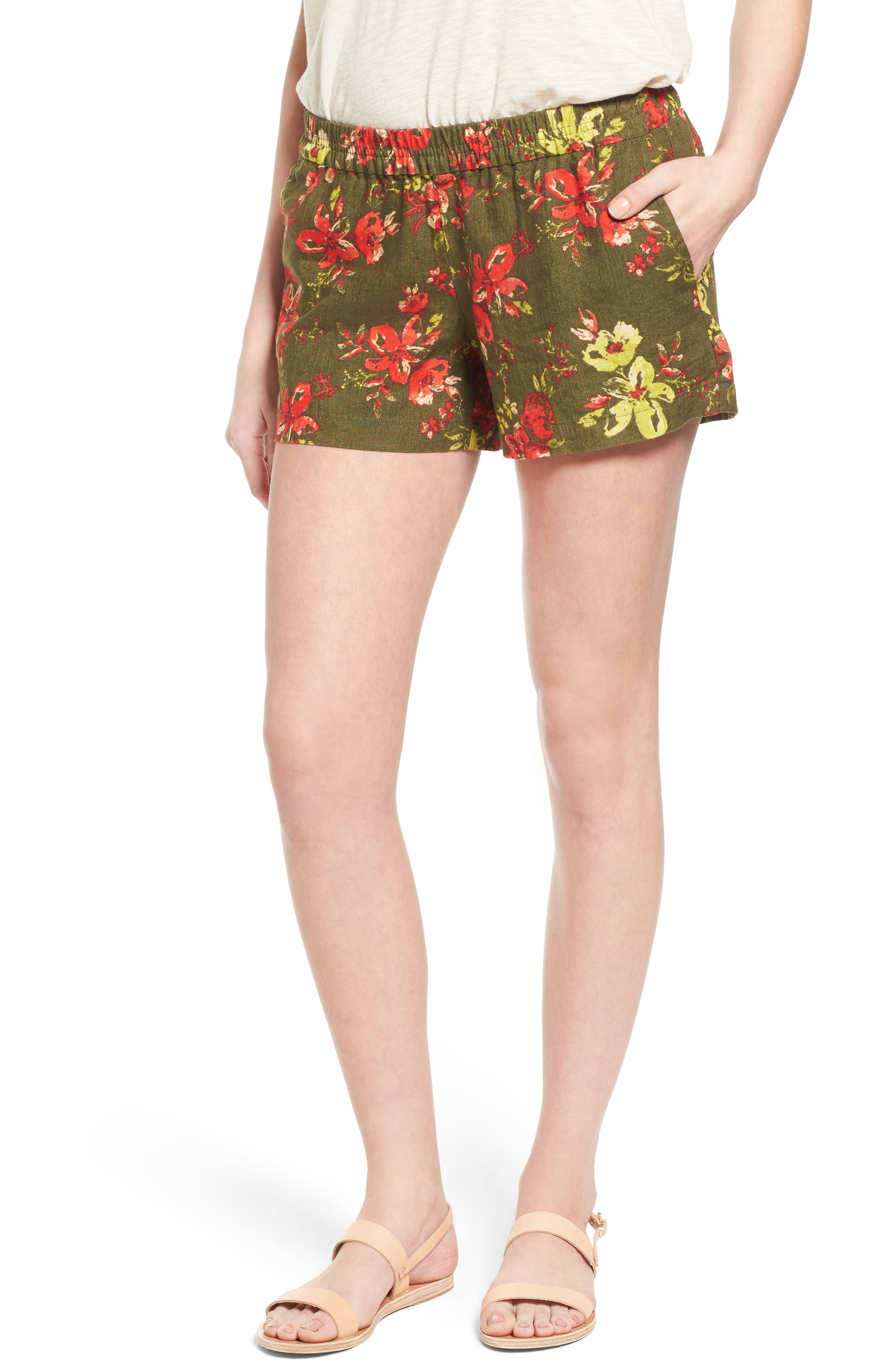 Zaria Print Linen Shorts,                             Main thumbnail 1, color,                             317