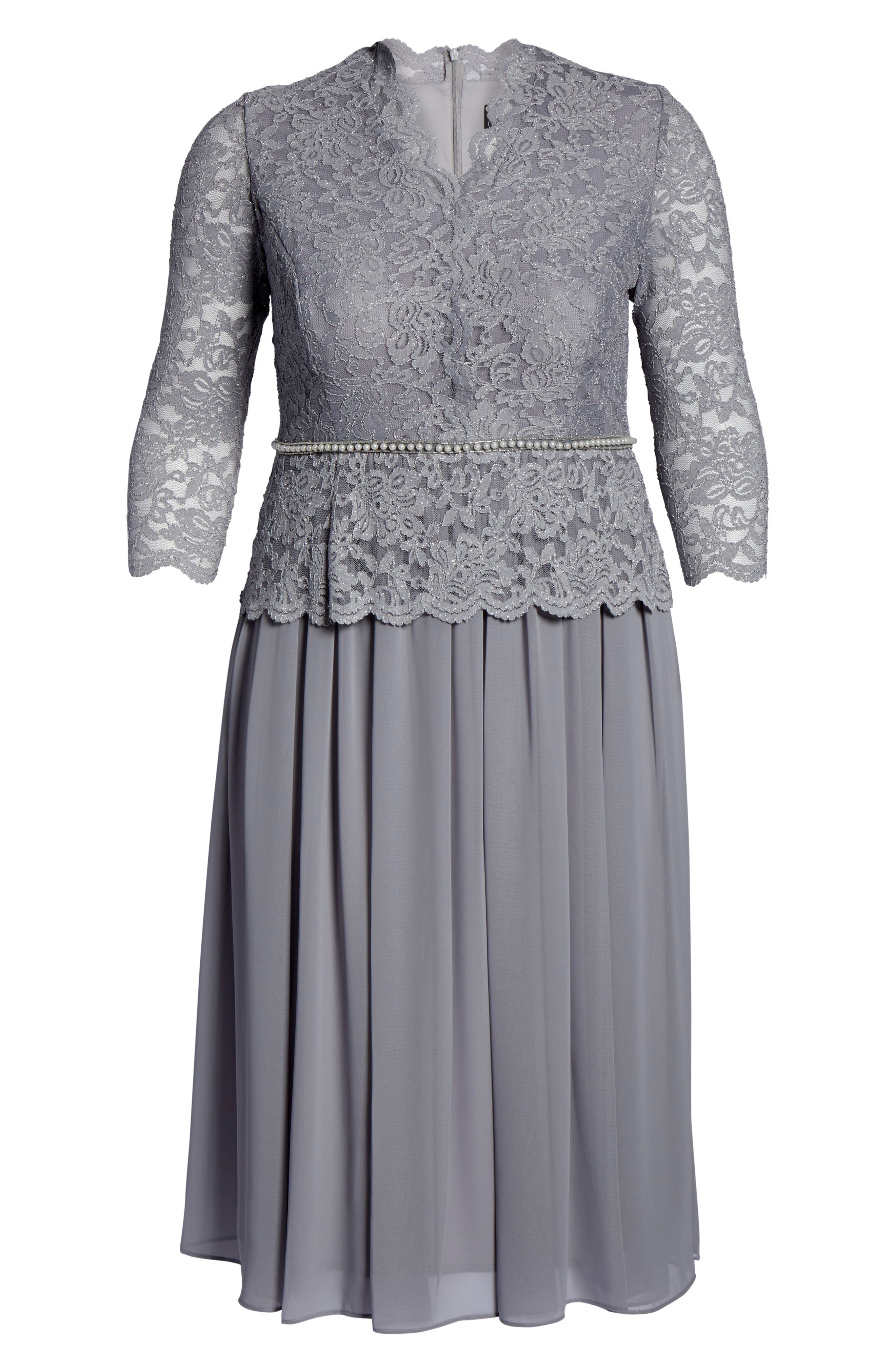 ALEX EVENINGS,                             Embellished Side Pleat Sweetheart Gown,                             Alternate thumbnail 6, color,                             CHARCOAL