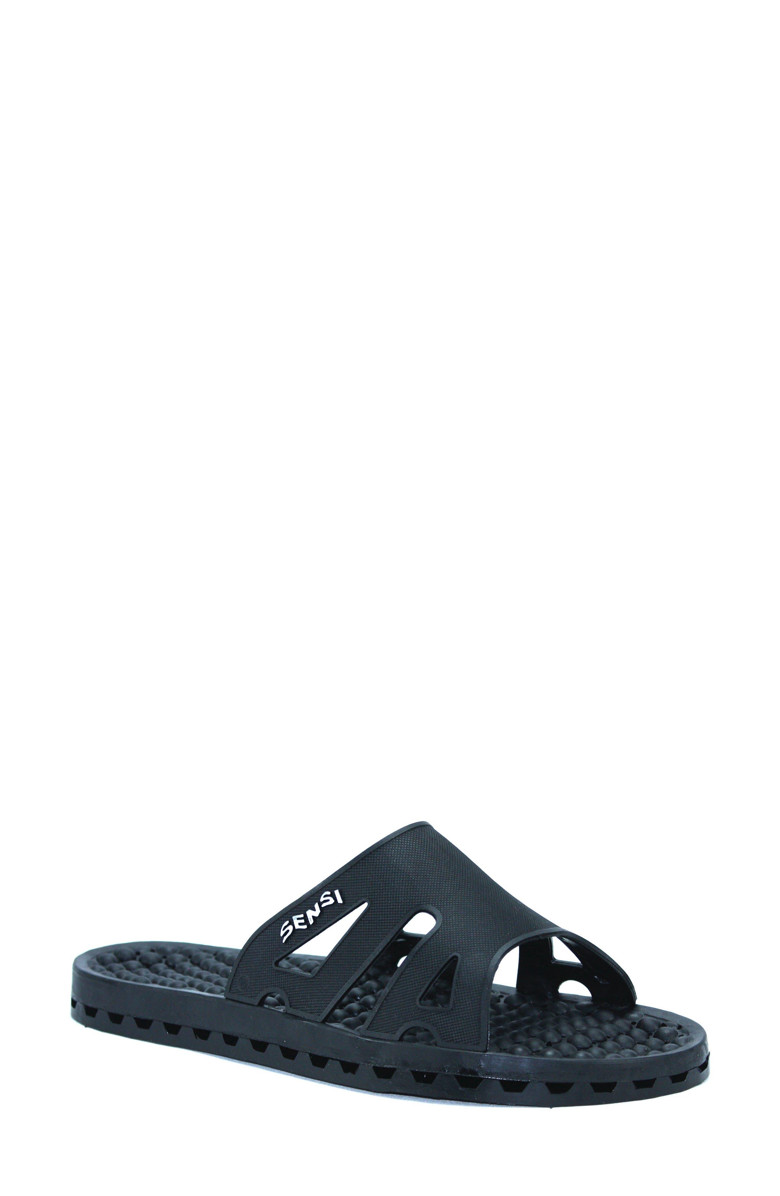 Regatta Ice Slide Sandal,                             Main thumbnail 1, color,                             SOLID BLACK