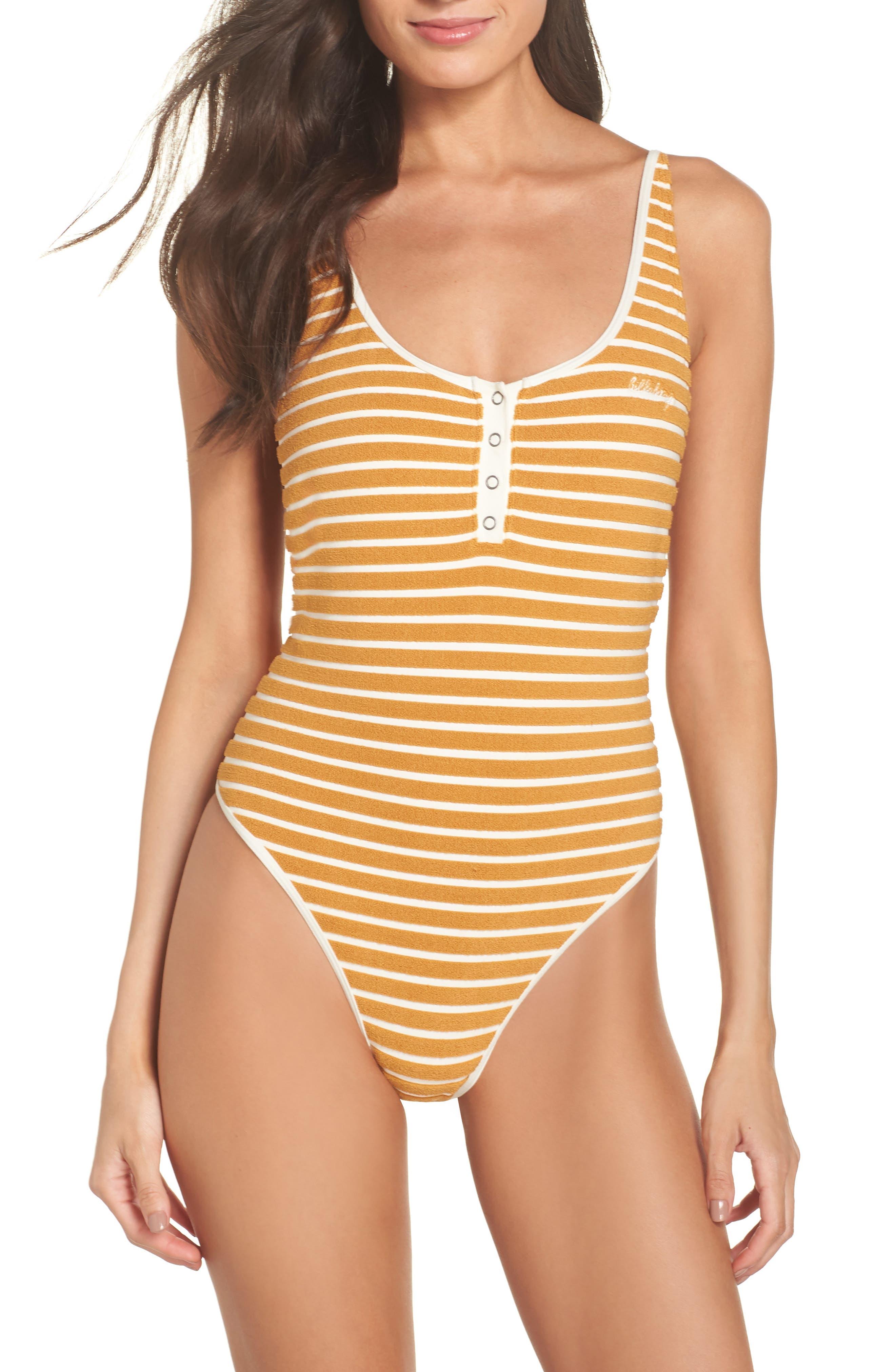 60s Swimsuits, 70s Bathing Suits | Retro Swimwear Womens Billabong Honey Daze One-Piece Swimsuit $53.96 AT vintagedancer.com