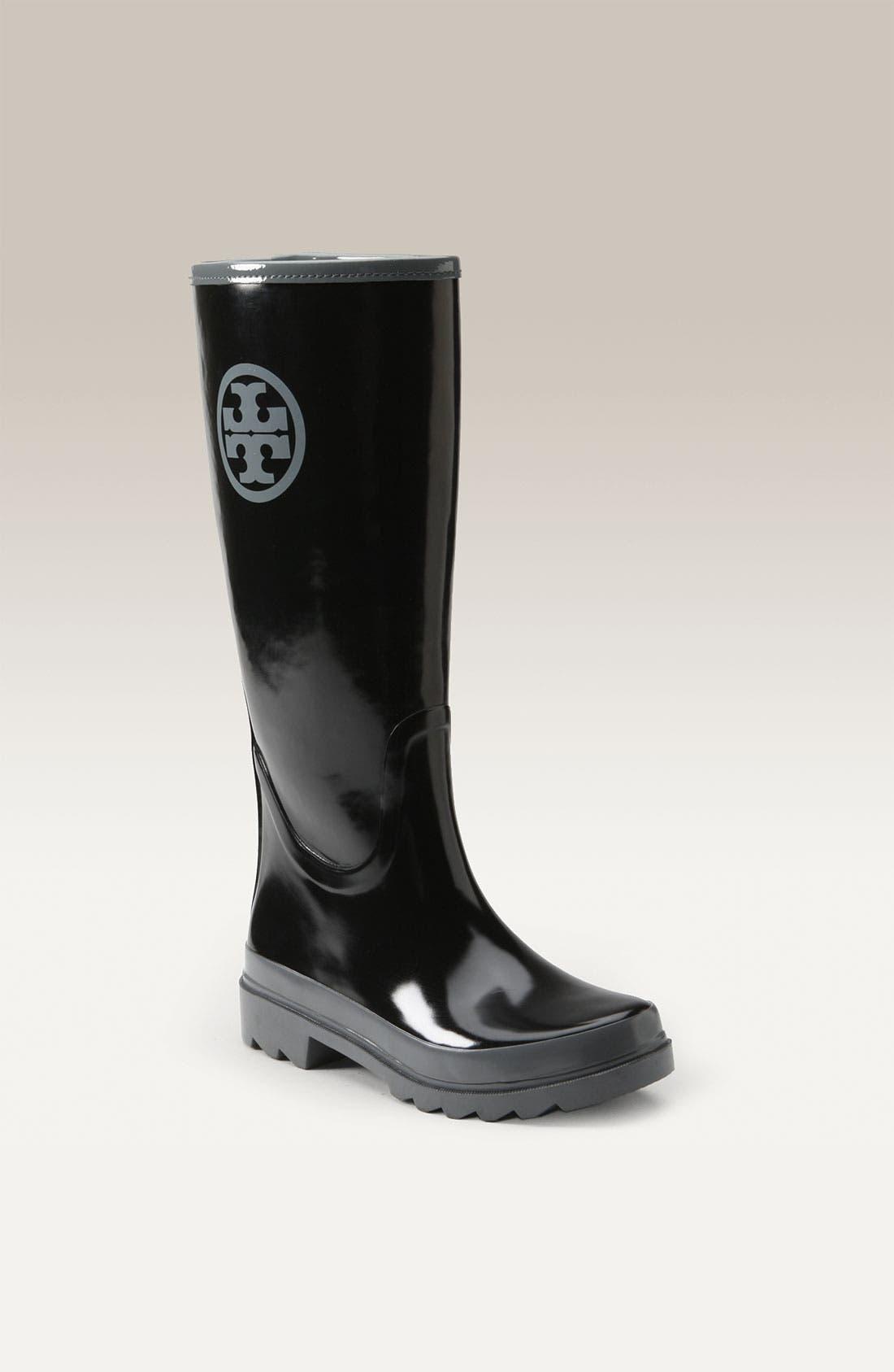 TORY BURCH,                             Logo Rain Boot,                             Main thumbnail 1, color,                             016