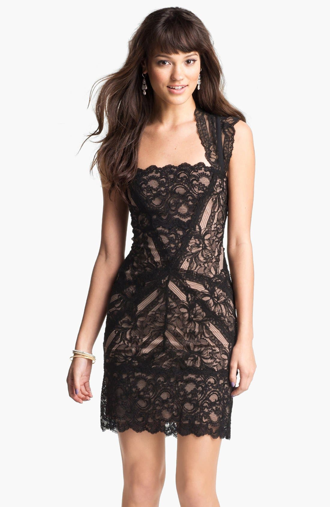 Lace Sheath Dress,                             Main thumbnail 1, color,                             001