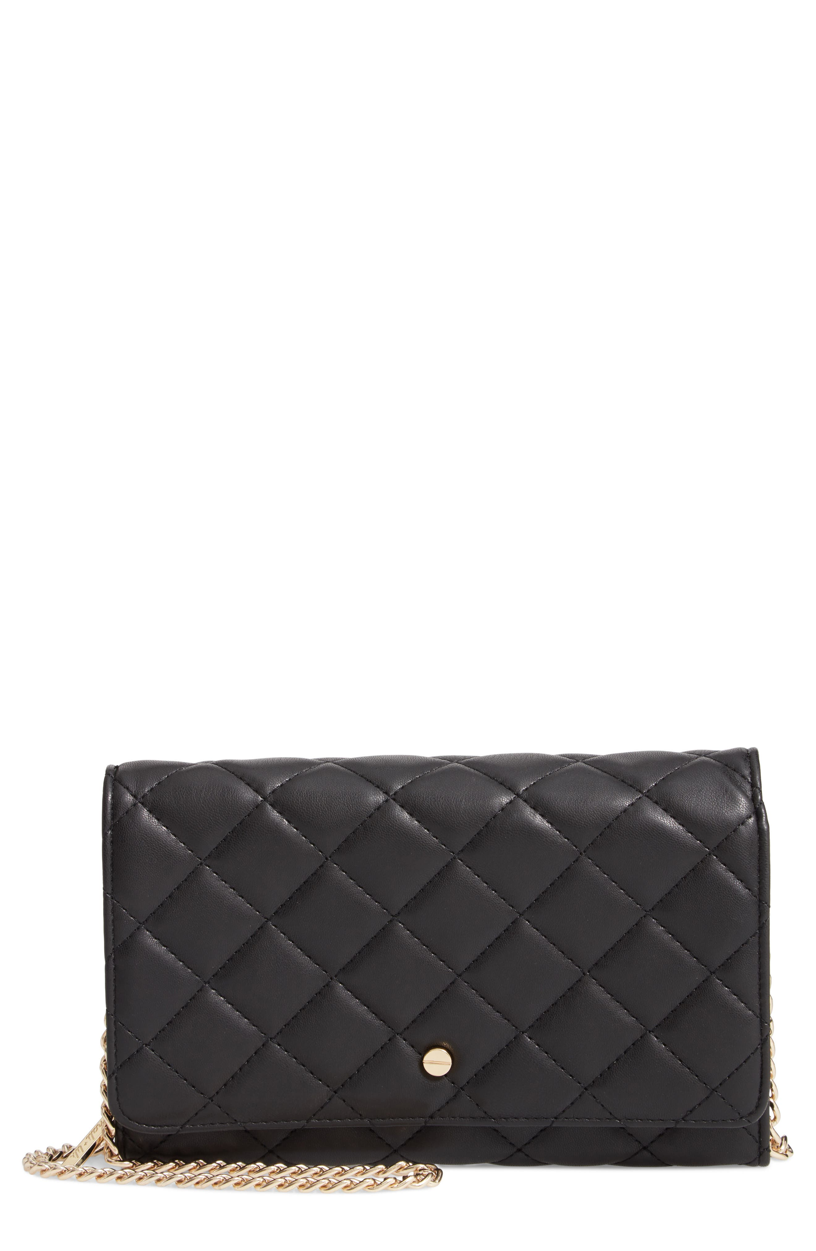 Mali + Lili Ciara Quilted Vegan Leather Convertible Clutch,                             Main thumbnail 1, color,                             BLACK