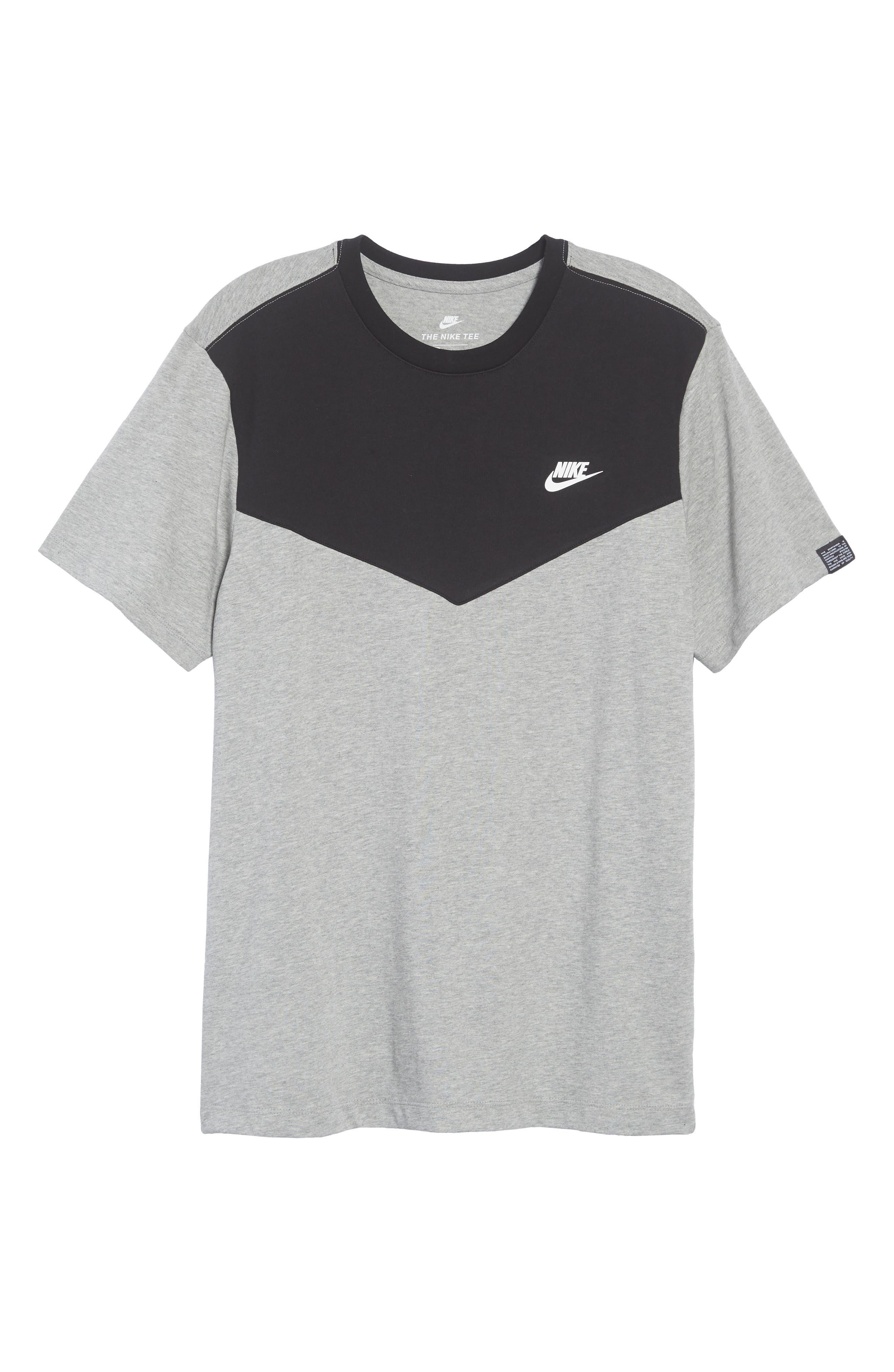 Windrunner Colorblocked T-Shirt,                             Alternate thumbnail 6, color,                             BLACK/ DK GREY HEATHER/ WHITE