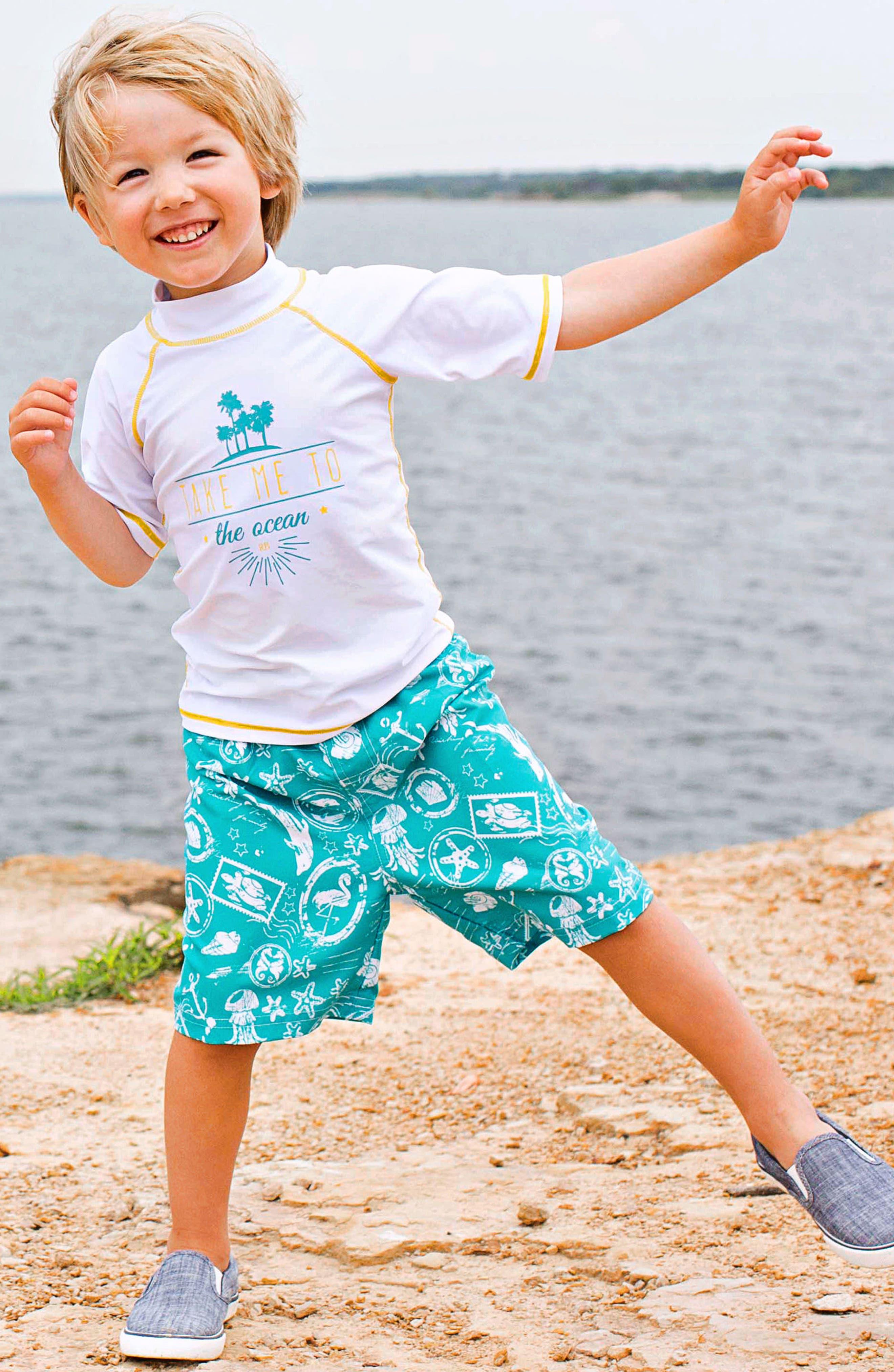 Take Me to the Ocean Rashguard & Board Shorts Set,                             Alternate thumbnail 2, color,                             BLUE