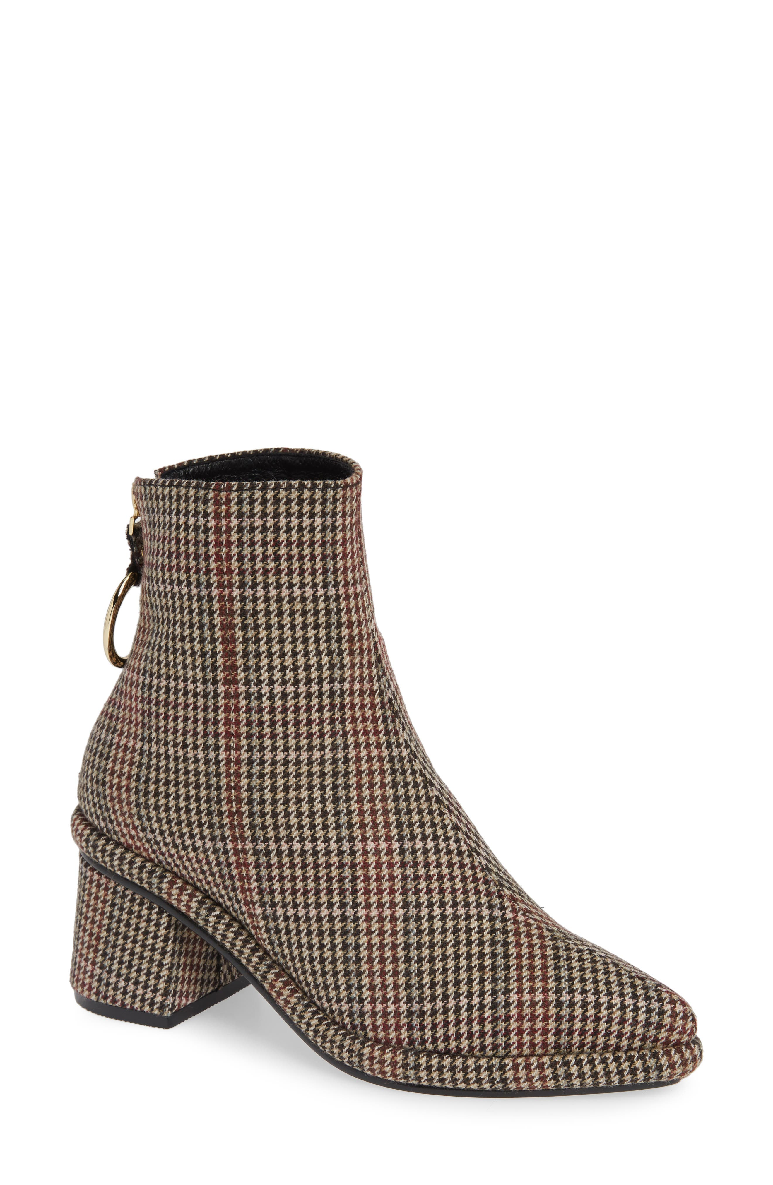 Ring Slim Bootie,                         Main,                         color, CHECK FABRIC