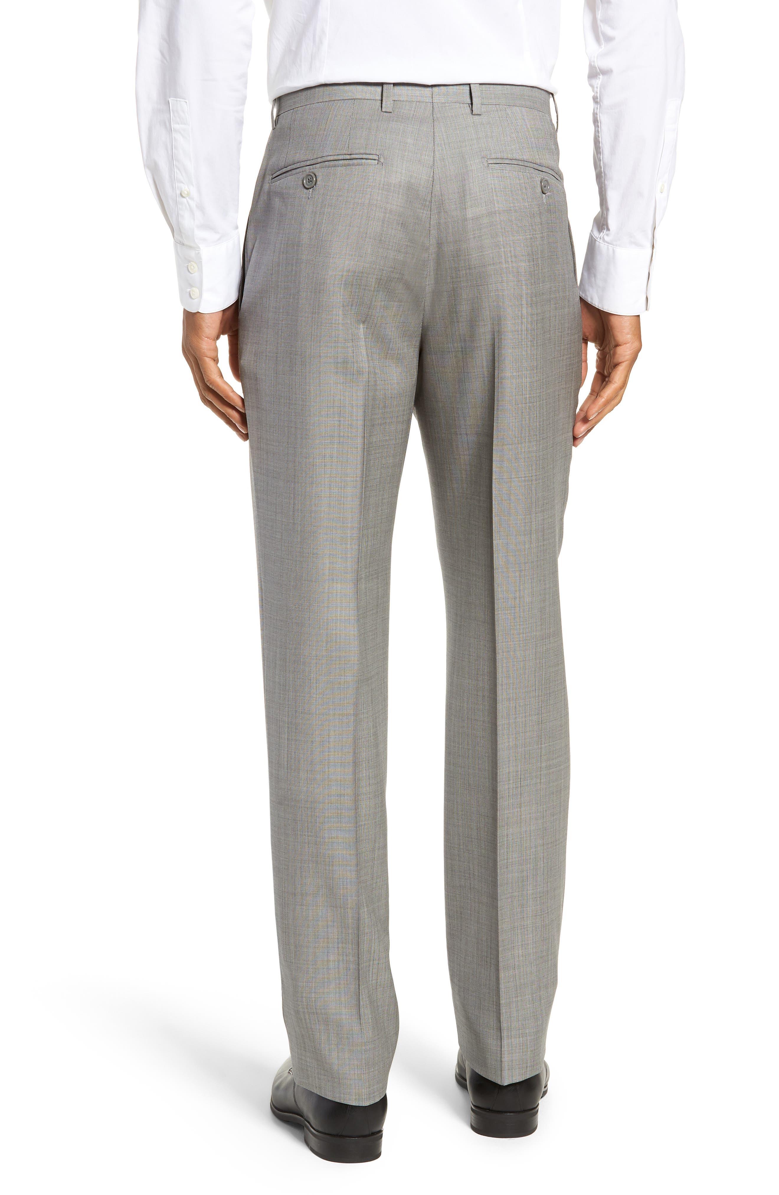 Flat Front Sharkskin Wool Trousers,                             Alternate thumbnail 2, color,                             LIGHT GREY