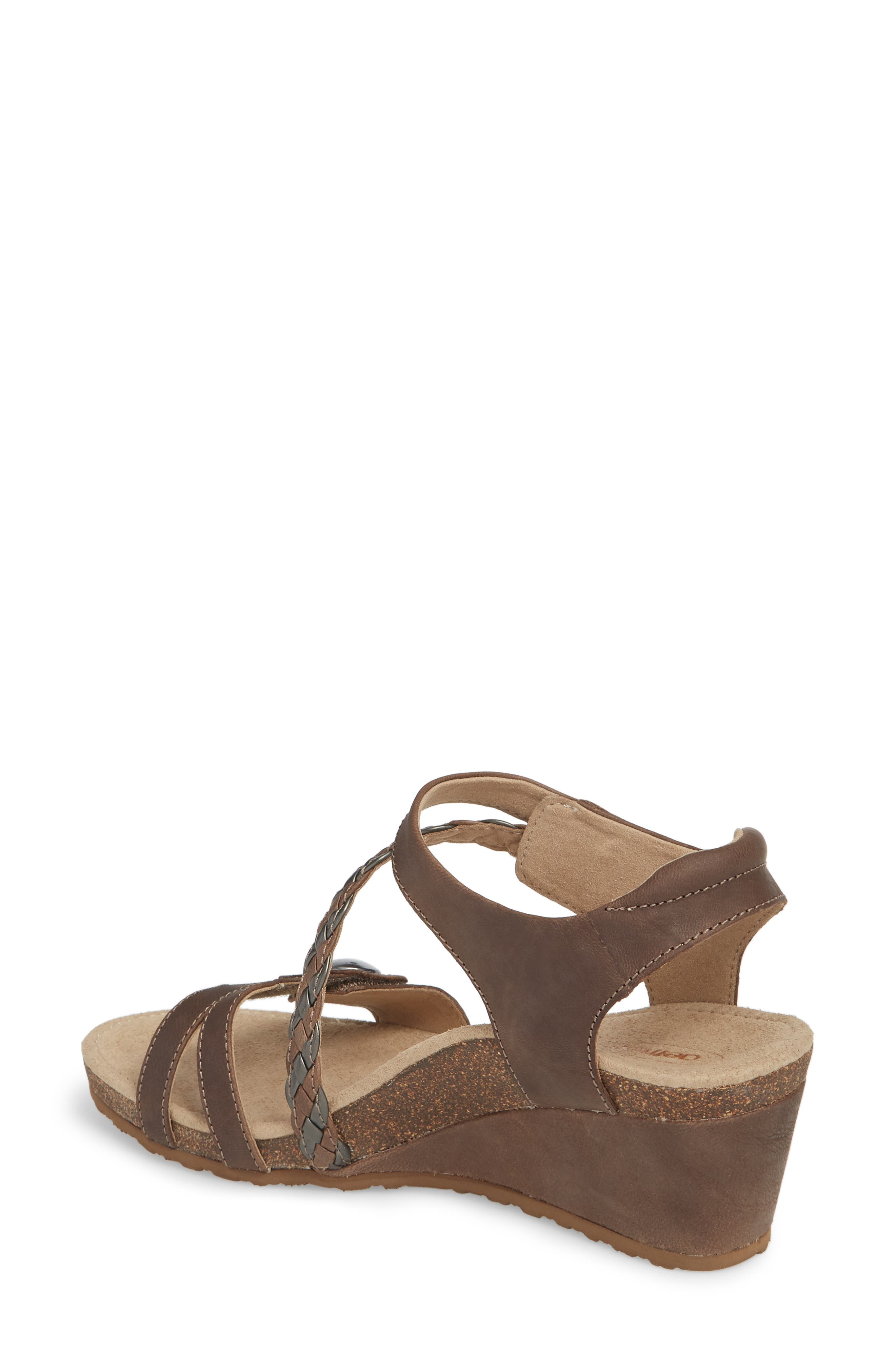 'Naya' Wedge Sandal,                             Alternate thumbnail 2, color,                             STONE LEATHER