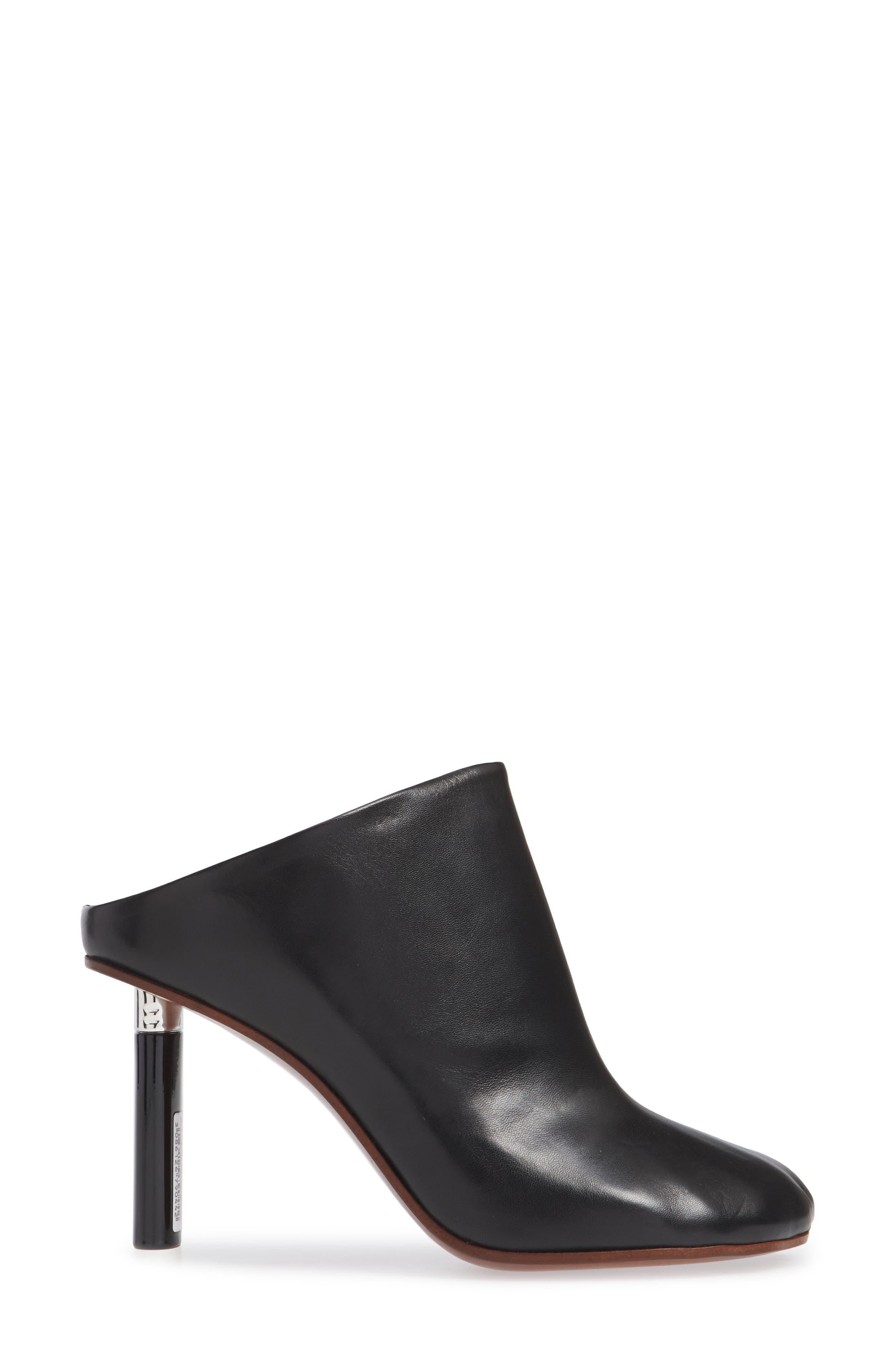 Lighter Heel Mule,                             Alternate thumbnail 3, color,                             BLACK/ BLACK HEEL