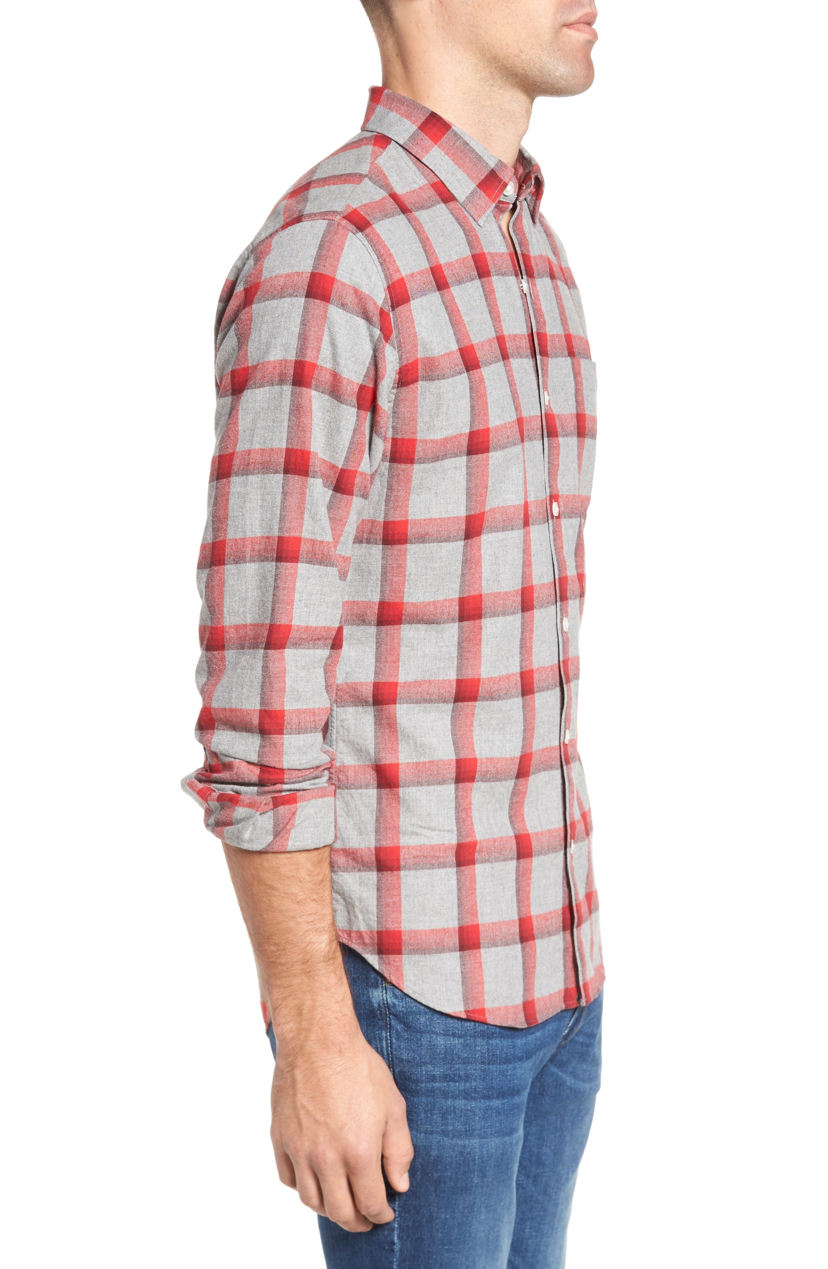 Slim Fit Brushed Check Sport Shirt,                             Alternate thumbnail 3, color,                             020