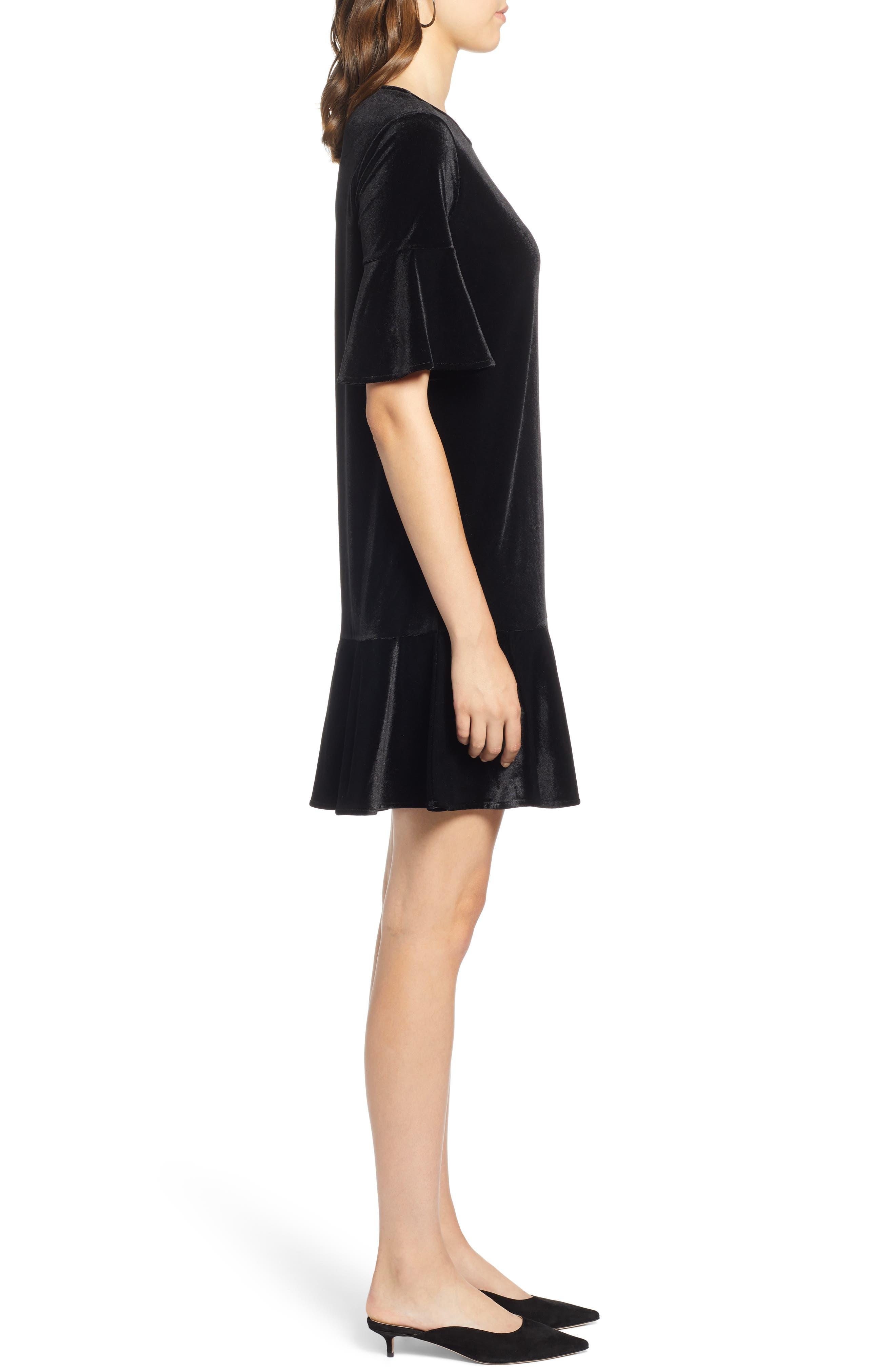 Ruffle Trim Velvet Dress,                             Alternate thumbnail 3, color,                             BLACK