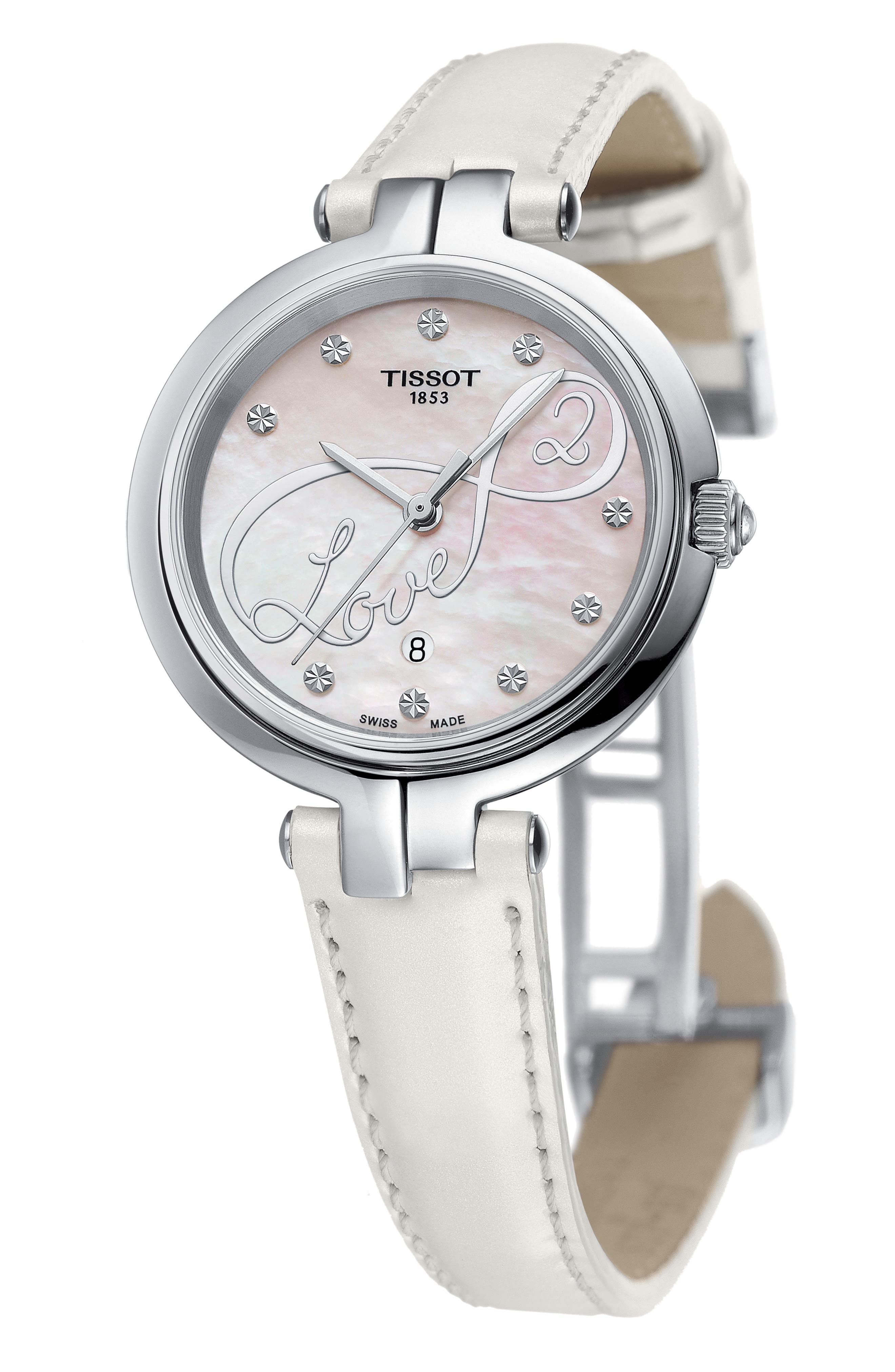 TISSOT,                             Flamingo Leather Strap Watch, 26mm,                             Alternate thumbnail 2, color,                             100