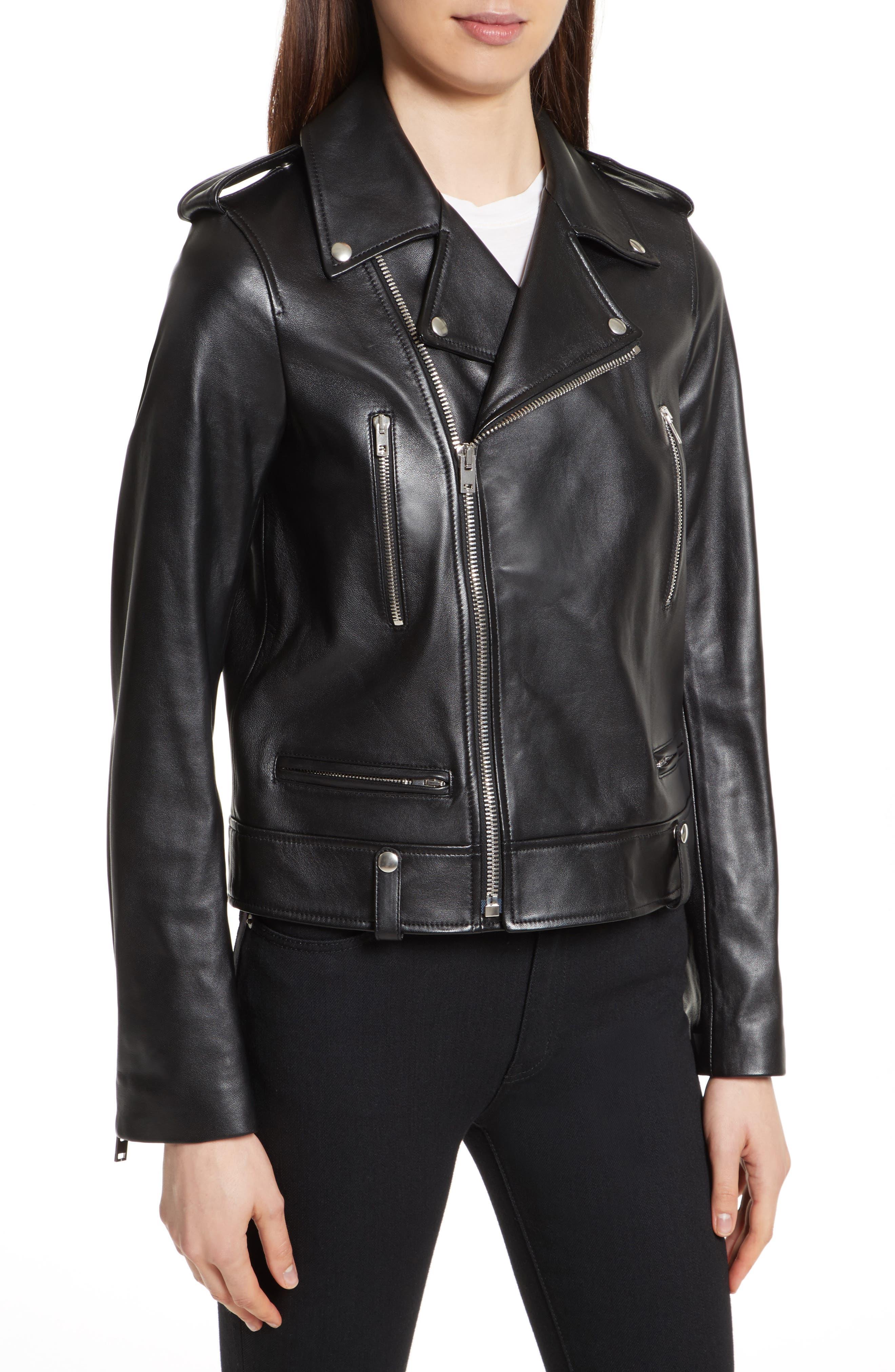 Ryder Leather Biker Jacket,                             Alternate thumbnail 4, color,