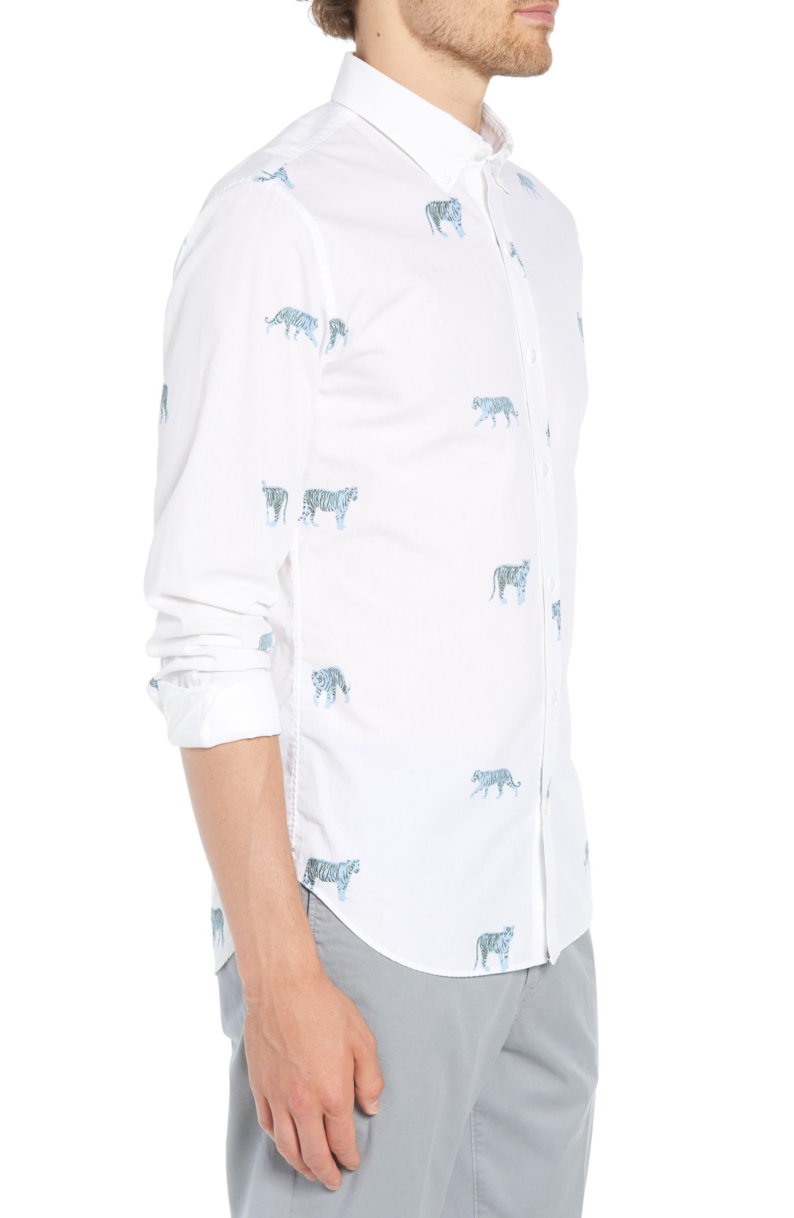 Summerweight Slim Fit Tiger Print Sport Shirt,                             Alternate thumbnail 4, color,                             100
