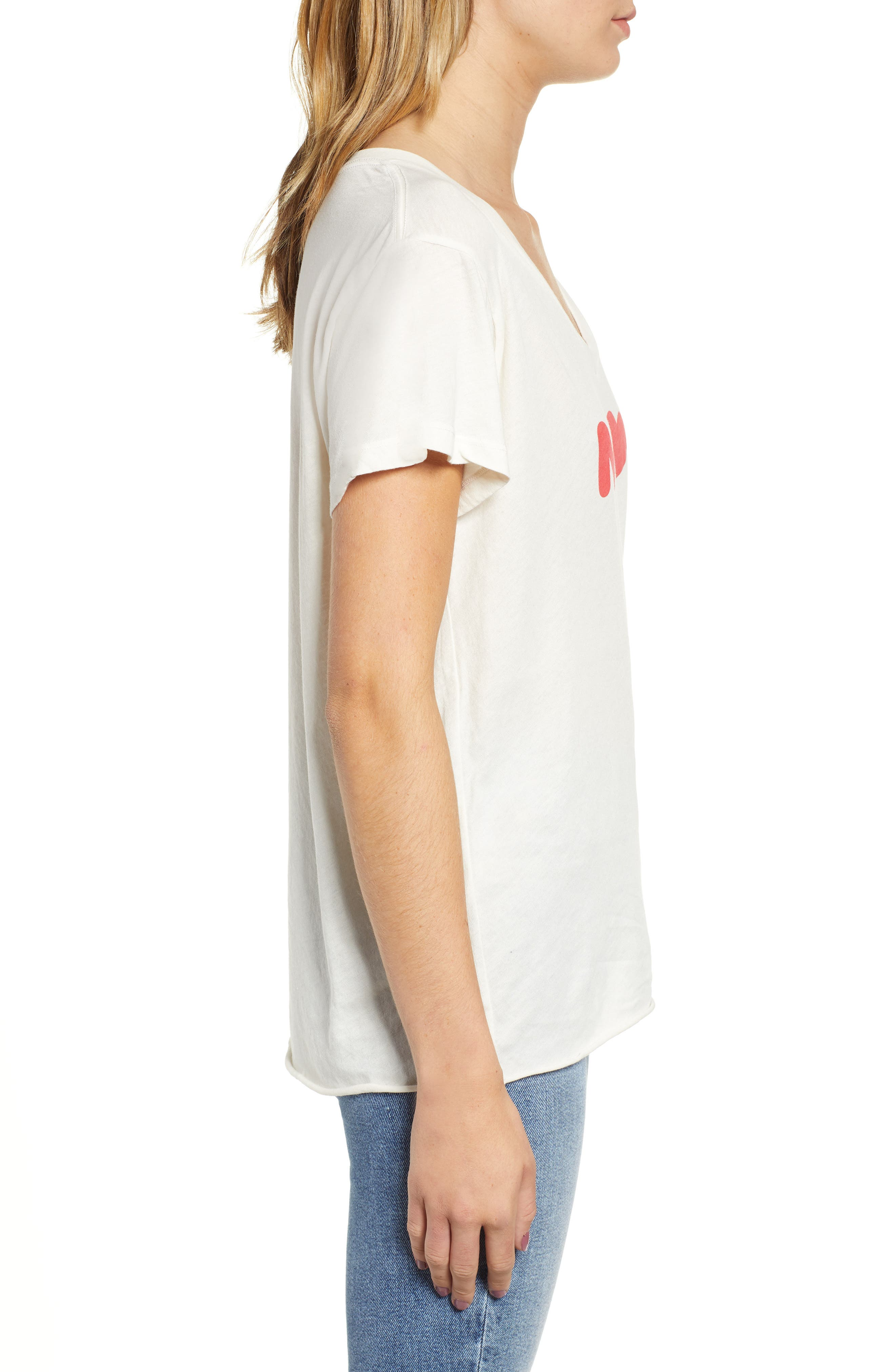 Romeo Meow V-Neck Tee,                             Alternate thumbnail 3, color,                             VINTAGE LA