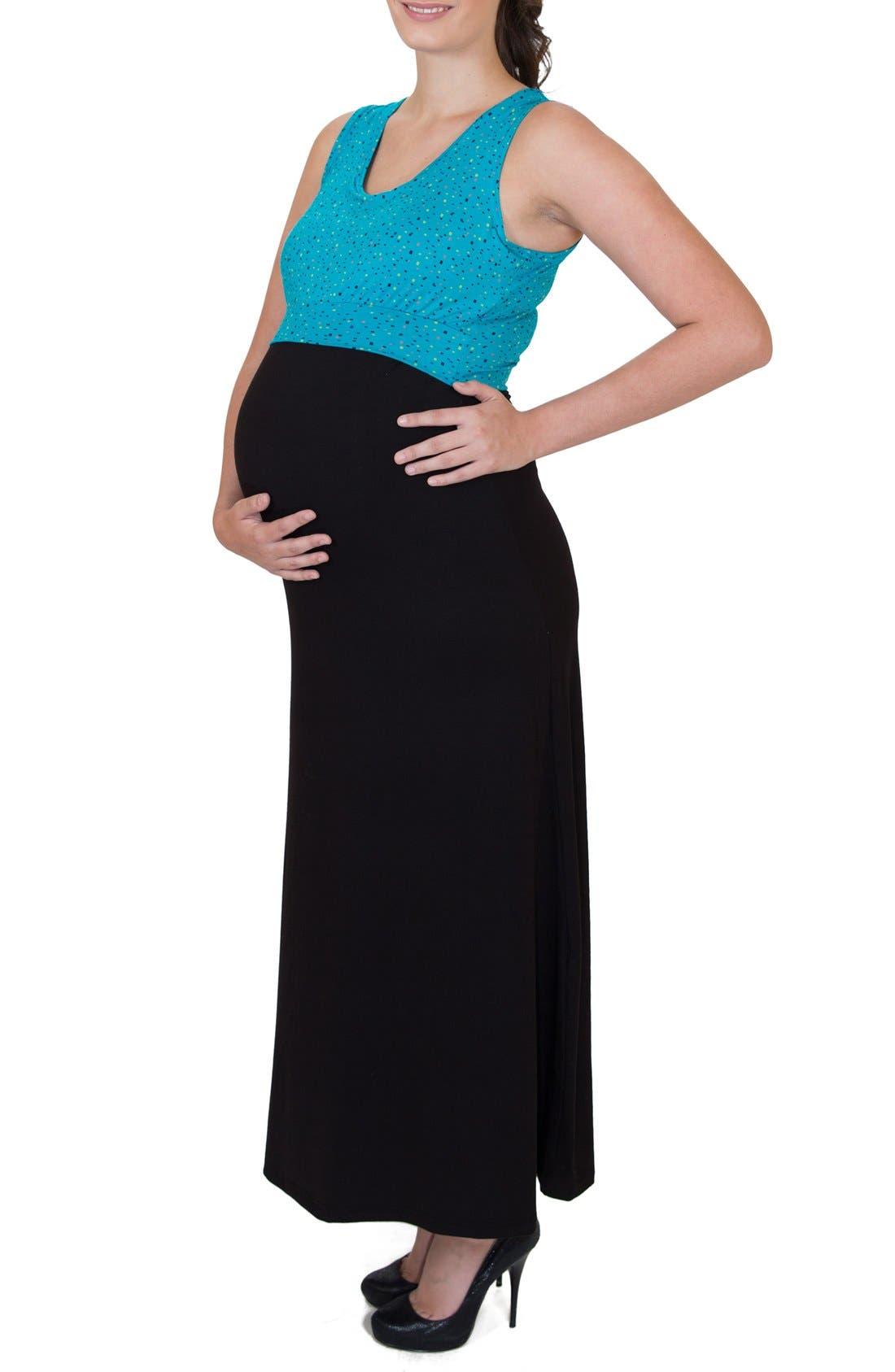 'Mariana' Maternity/Nursing Maxi Dress,                             Alternate thumbnail 3, color,                             DOTS TOP W/ BLACK SKIRT