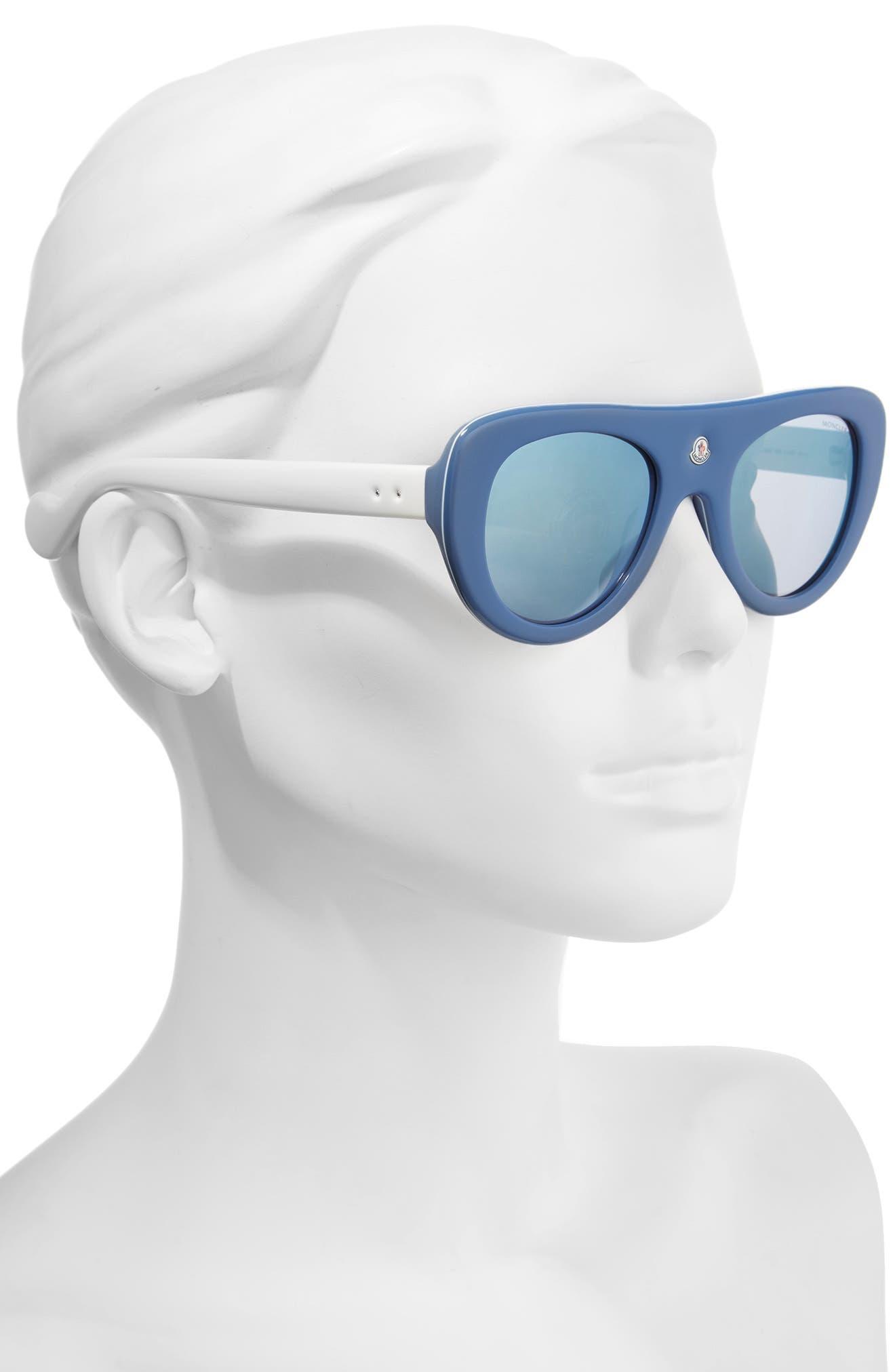 51mm Shield Sunglasses,                             Alternate thumbnail 2, color,                             BLUE/ IVORY/ VIOLET MIRROR