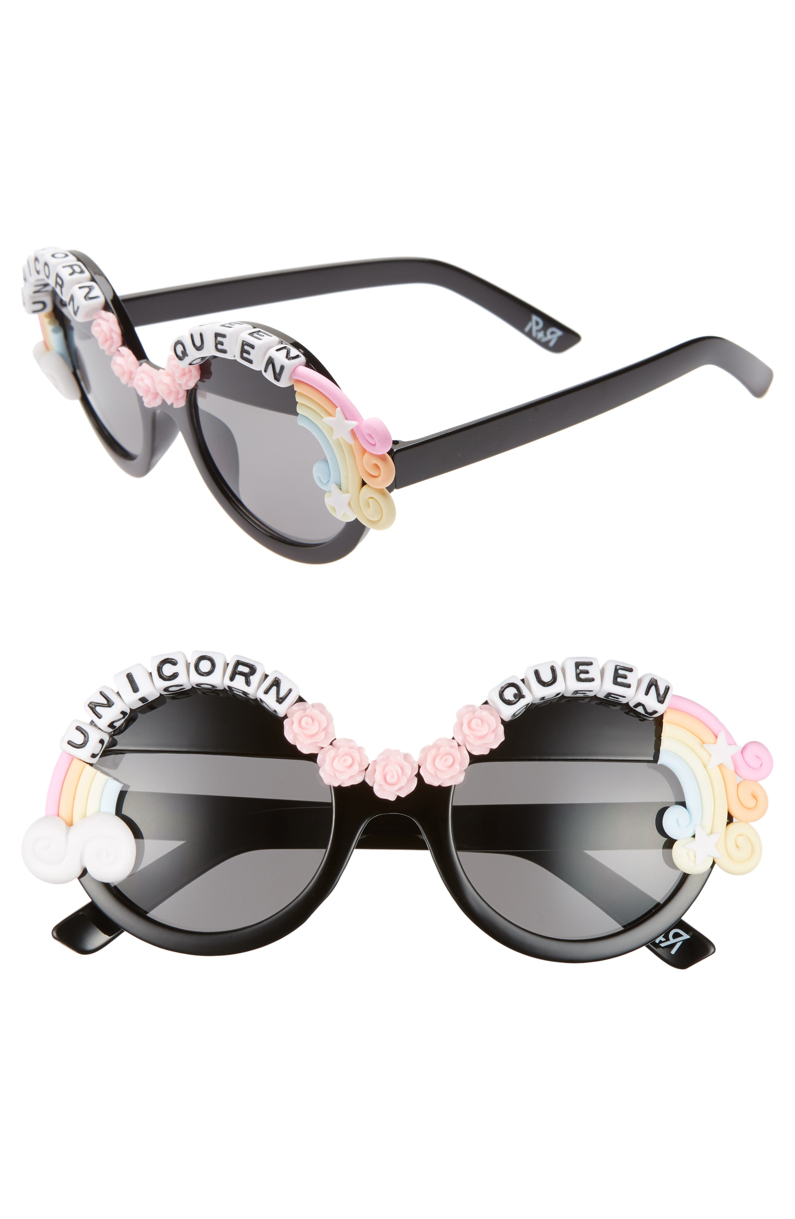 Rad + Refined Unicorn Queen Round Sunglasses - Black/ Pink