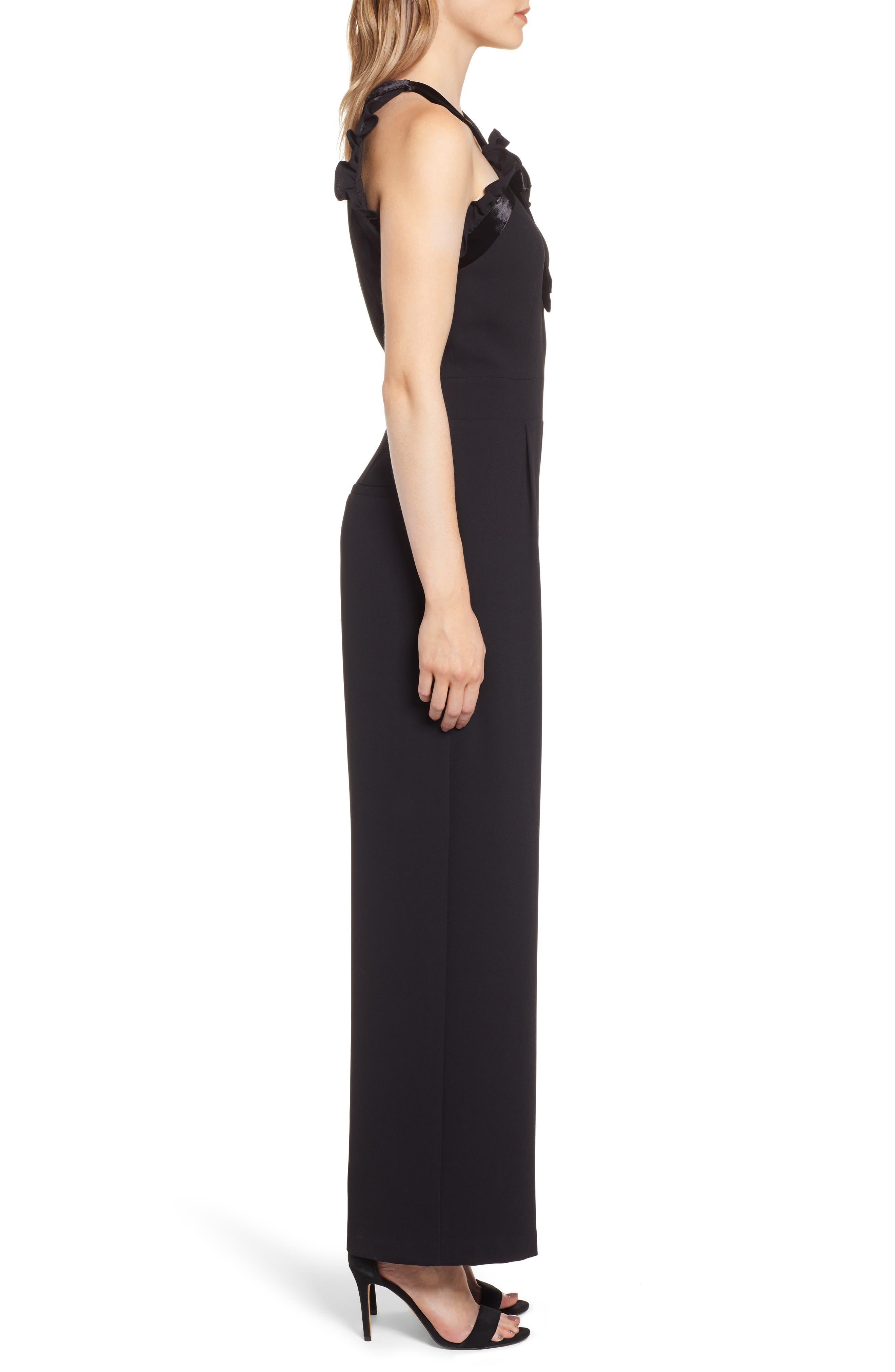 Velvet Bow Detail Jumpsuit,                             Alternate thumbnail 3, color,                             RICH BLACK