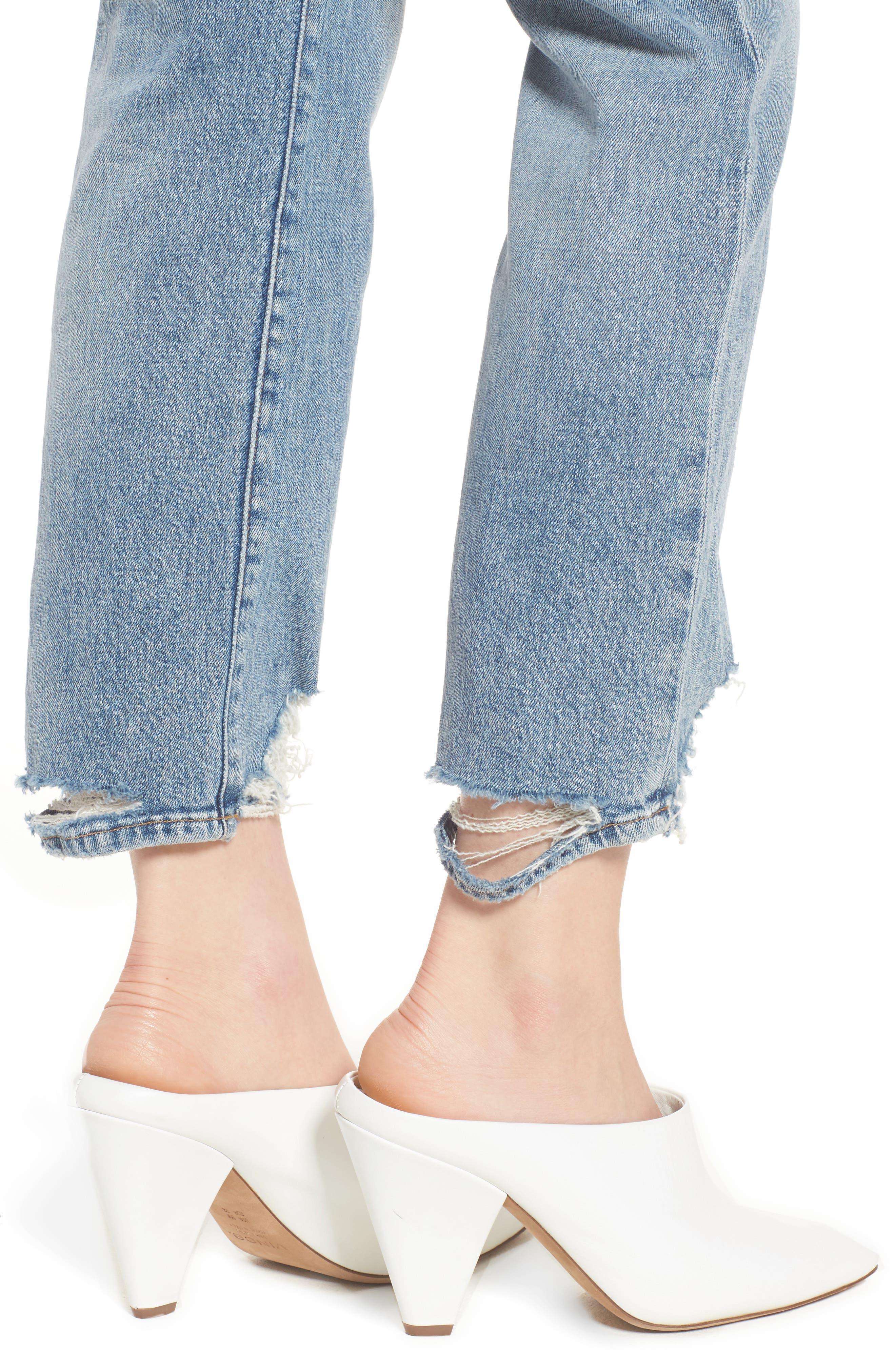 Zoeey High Waist Ankle Straight Leg Jeans,                             Alternate thumbnail 4, color,                             456