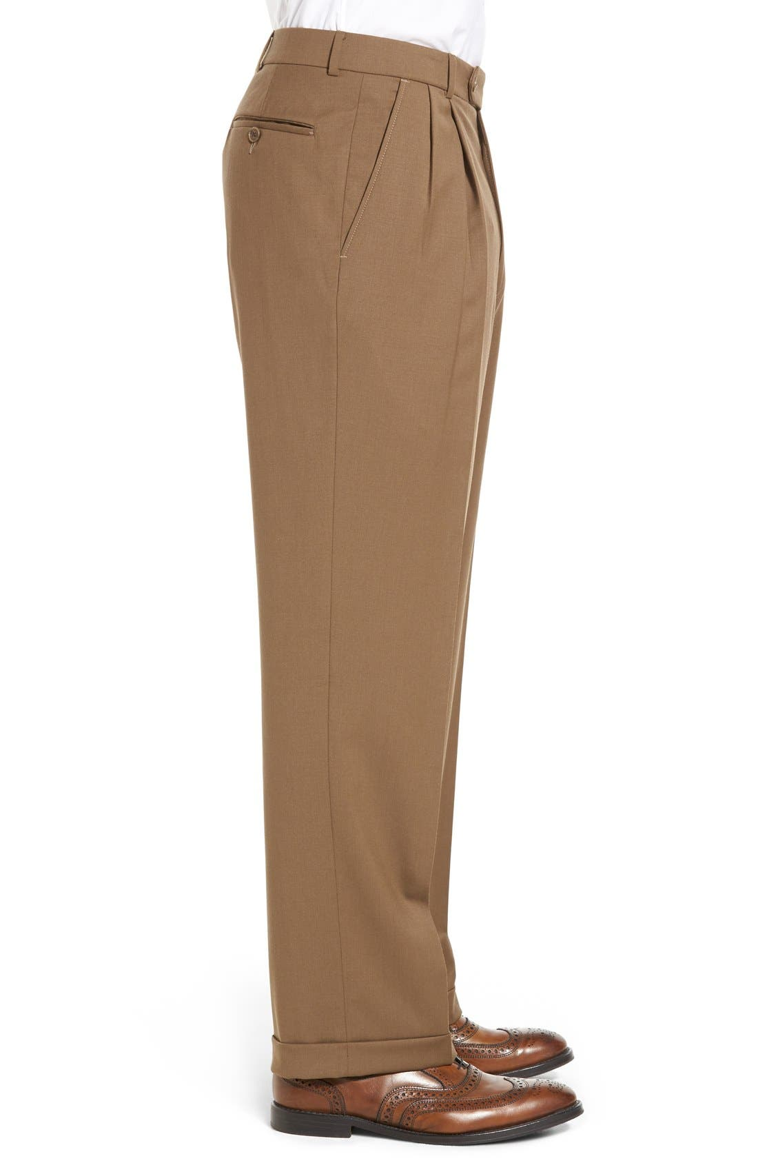 Pleated Solid Wool Trousers,                             Alternate thumbnail 34, color,
