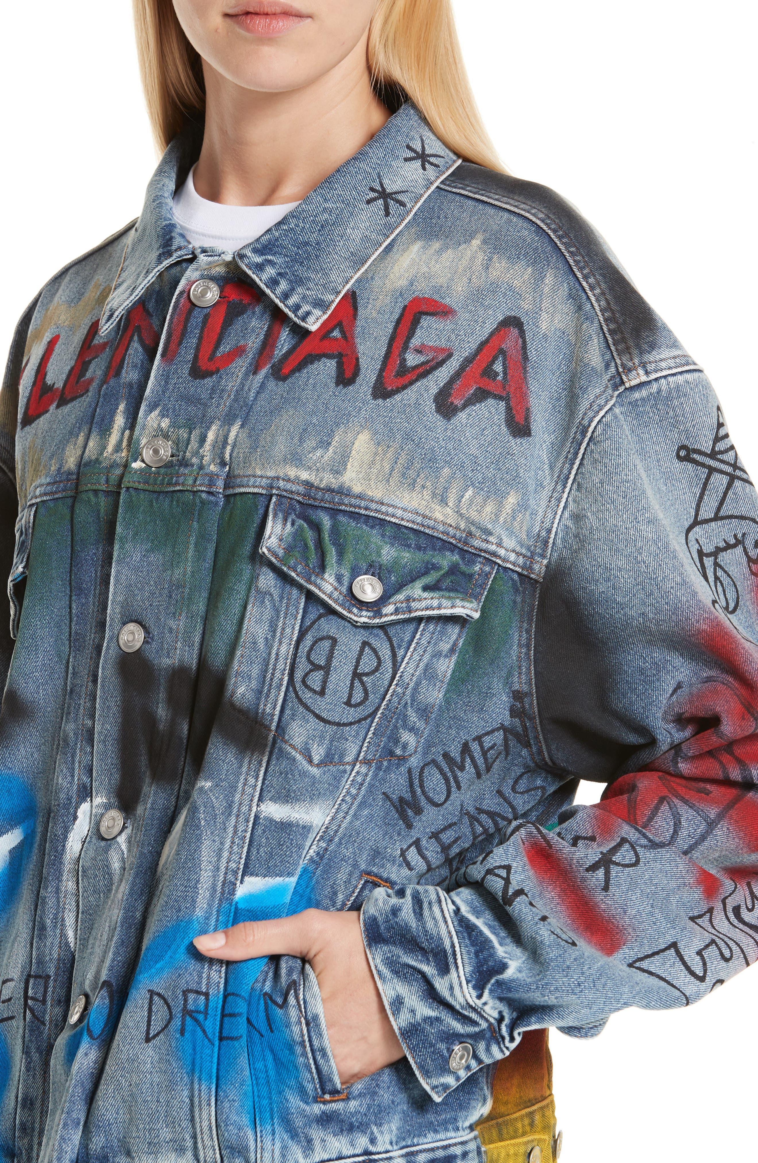 Graffiti Print Denim Jacket,                             Alternate thumbnail 4, color,                             400