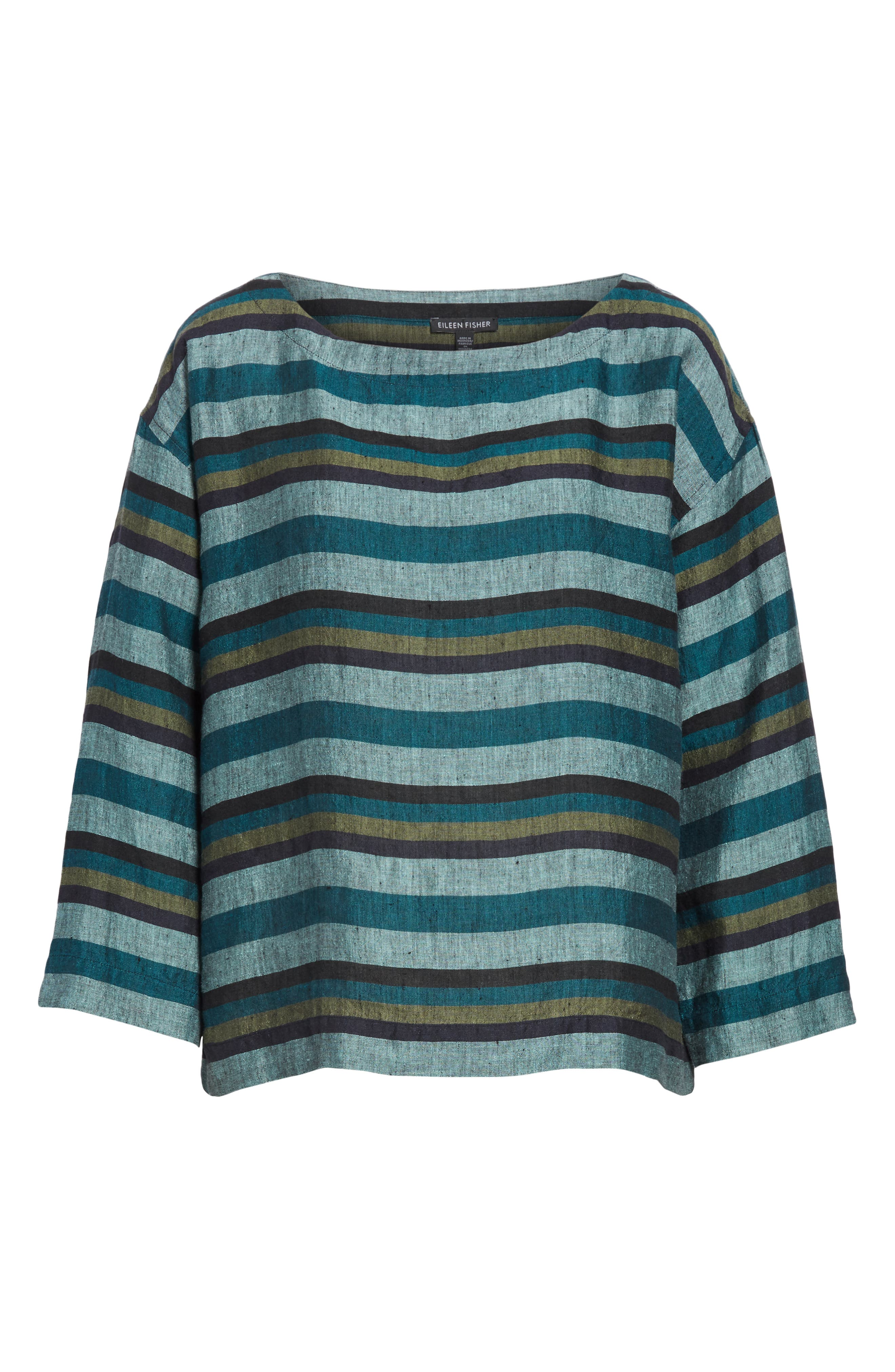Stripe Organic Linen Top,                             Alternate thumbnail 6, color,                             TEAL
