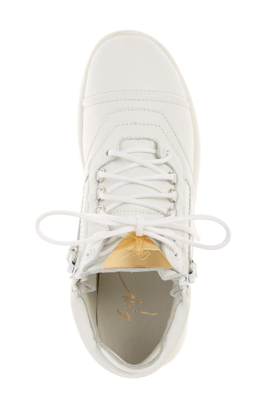 Side Zip Low Top Sneaker,                             Alternate thumbnail 3, color,                             100