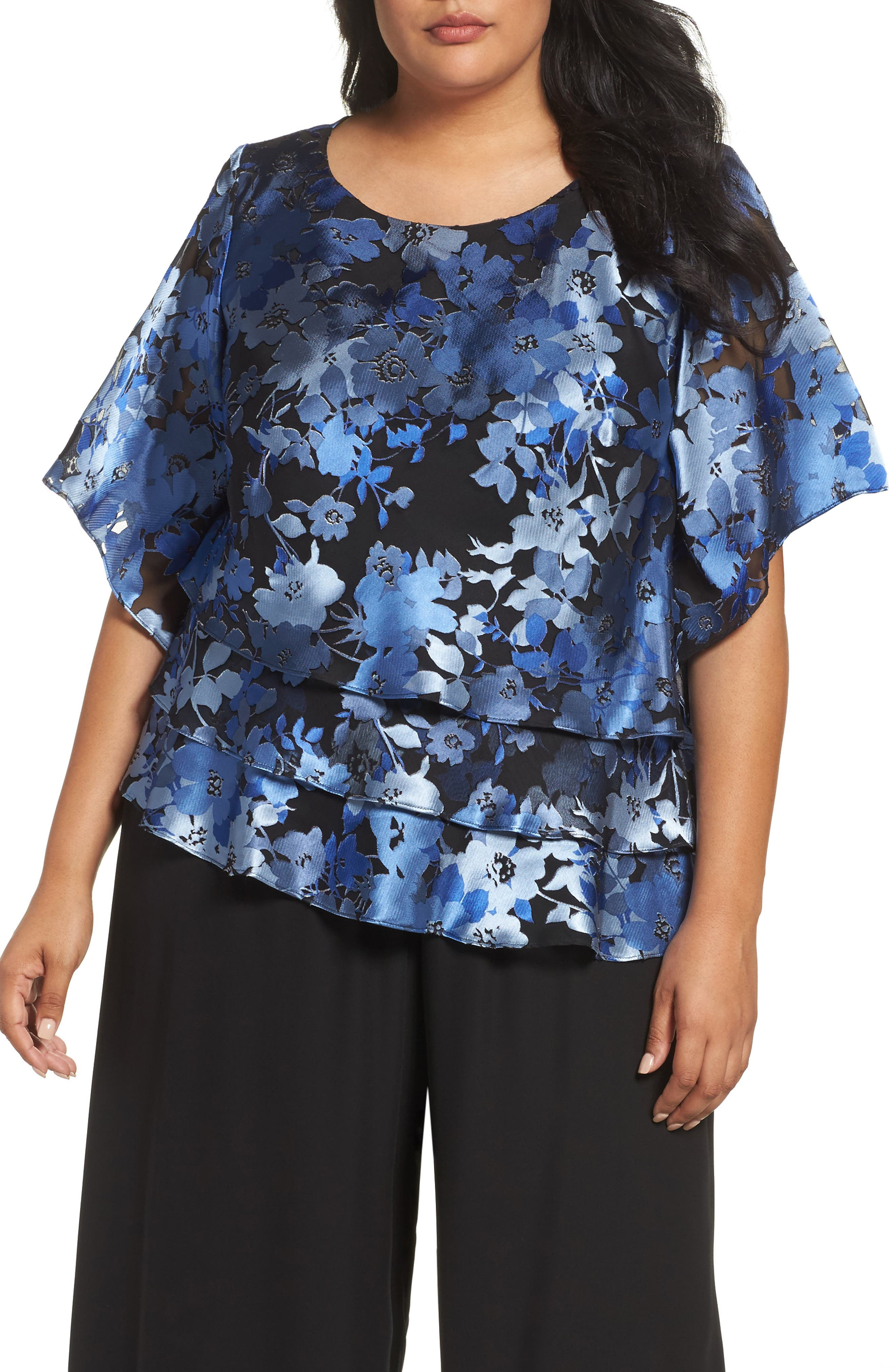 Burnout Floral Blouse,                             Main thumbnail 1, color,