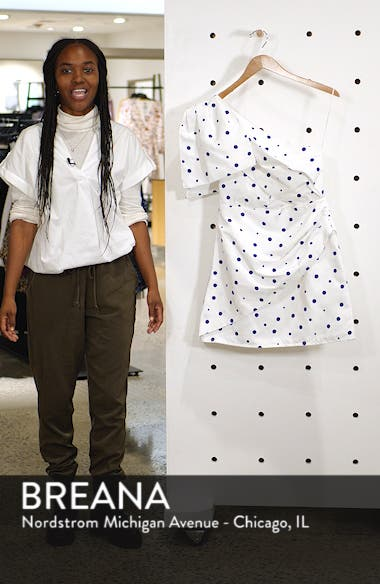 Dot One-Shoulder Bow Minidress, sales video thumbnail
