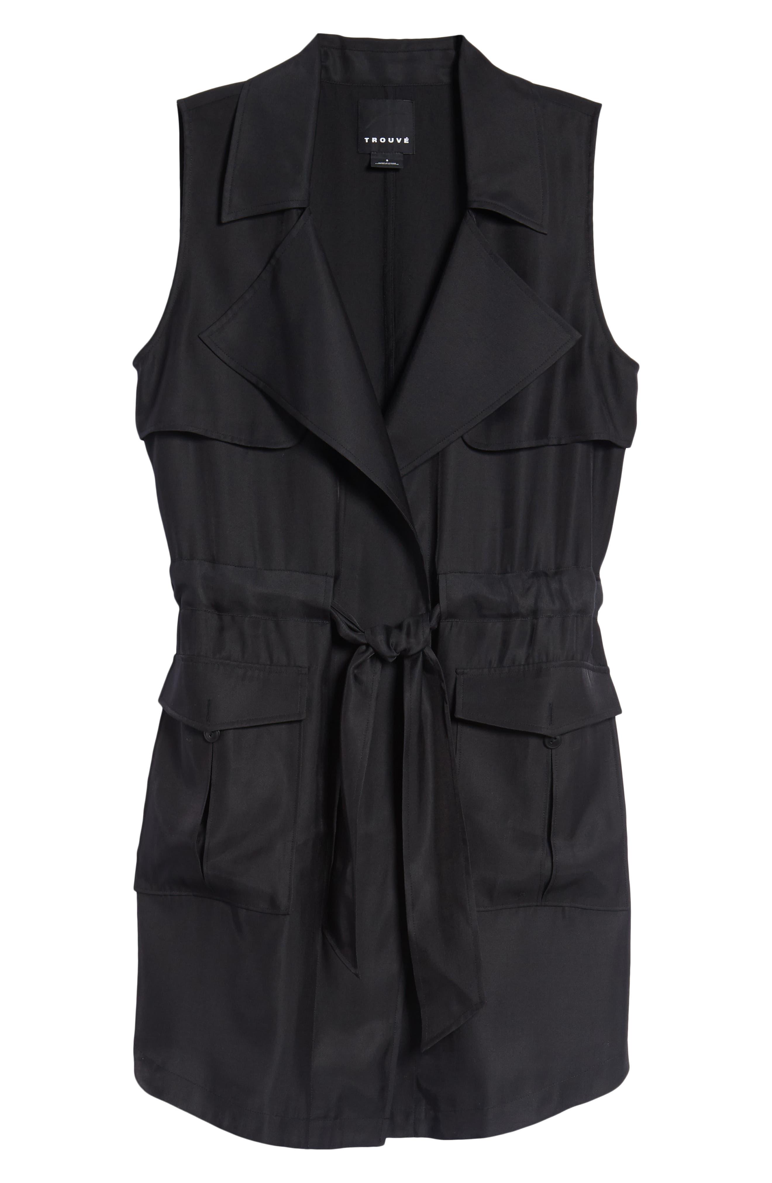 Belted Sleeveless Jacket,                             Alternate thumbnail 6, color,                             001
