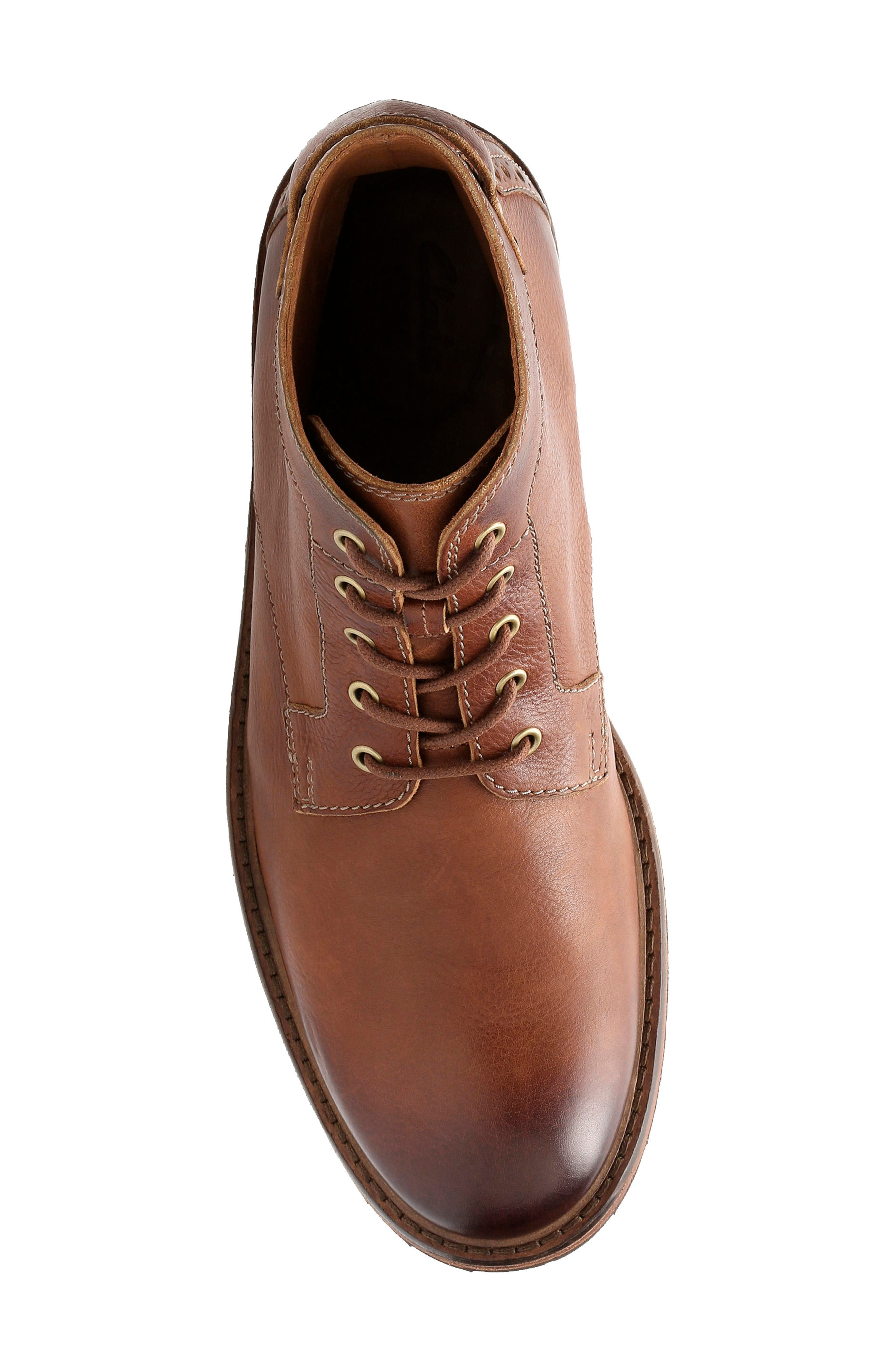 Clarkdale Bud Plain Toe Boot,                             Alternate thumbnail 3, color,                             DARK TAN LEATHER