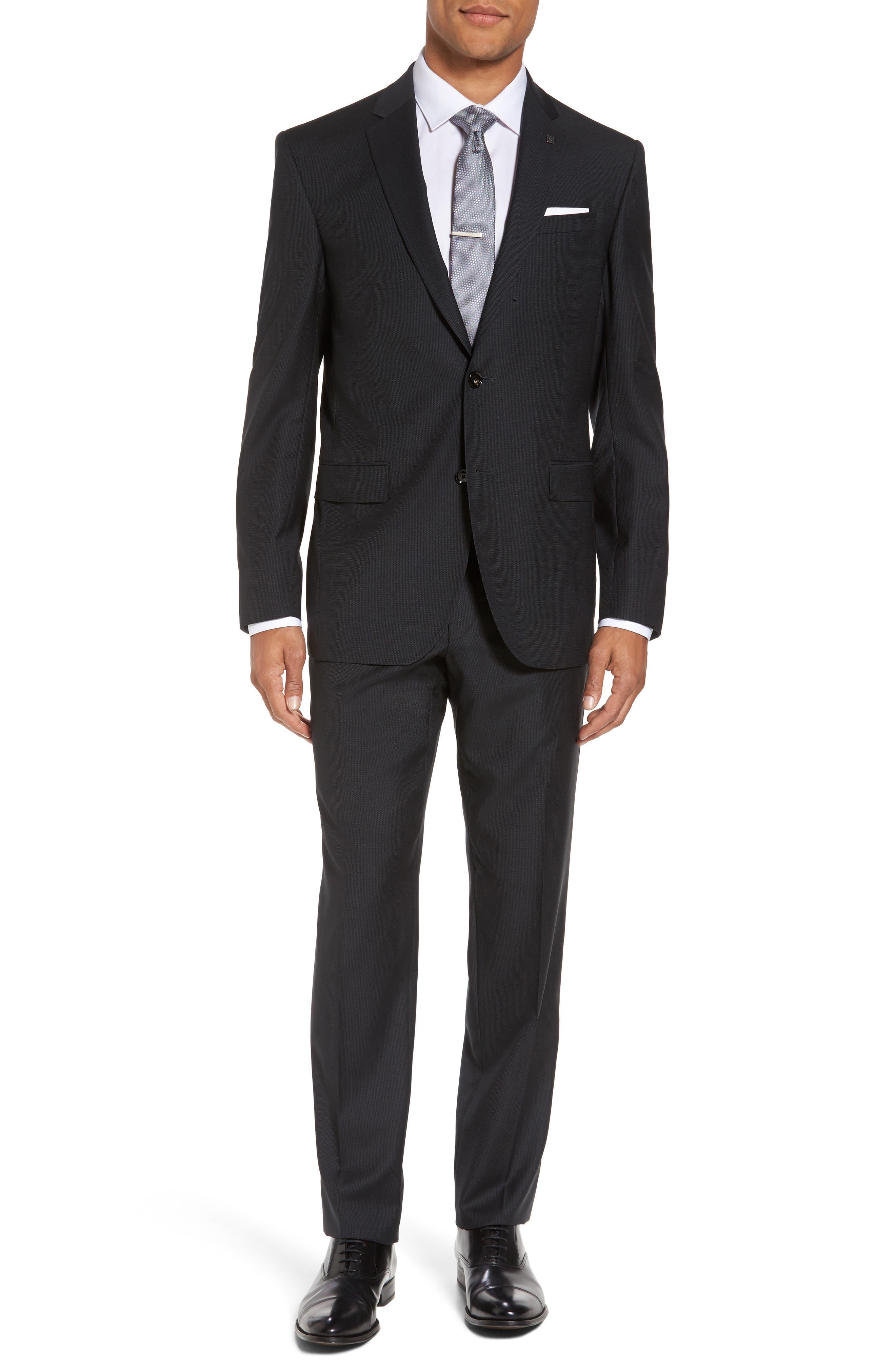 Jay Trim Fit Solid Wool Suit,                         Main,                         color, 001