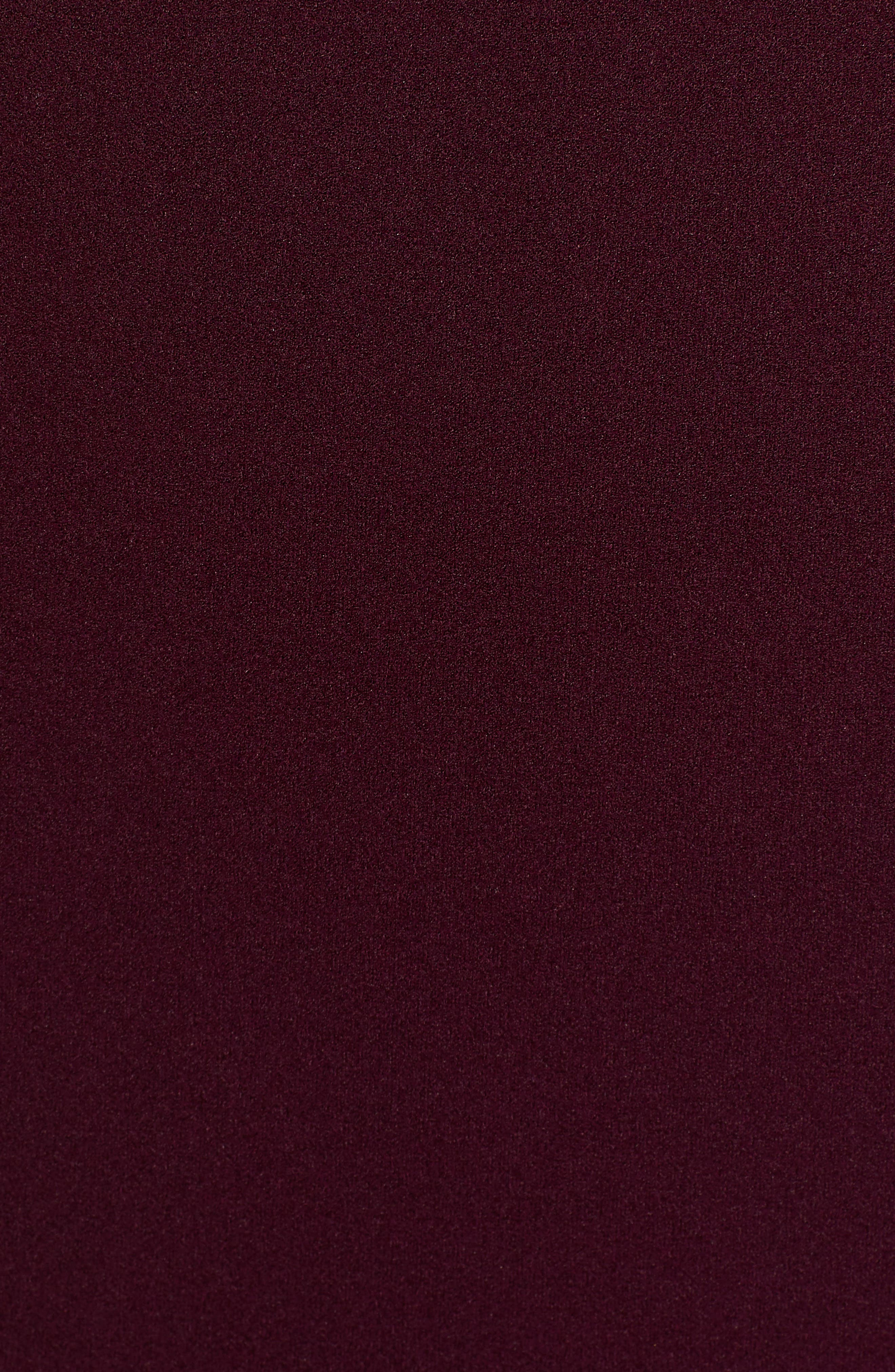 Lace Sleeve Body-Con Dress,                             Alternate thumbnail 6, color,                             PLUM