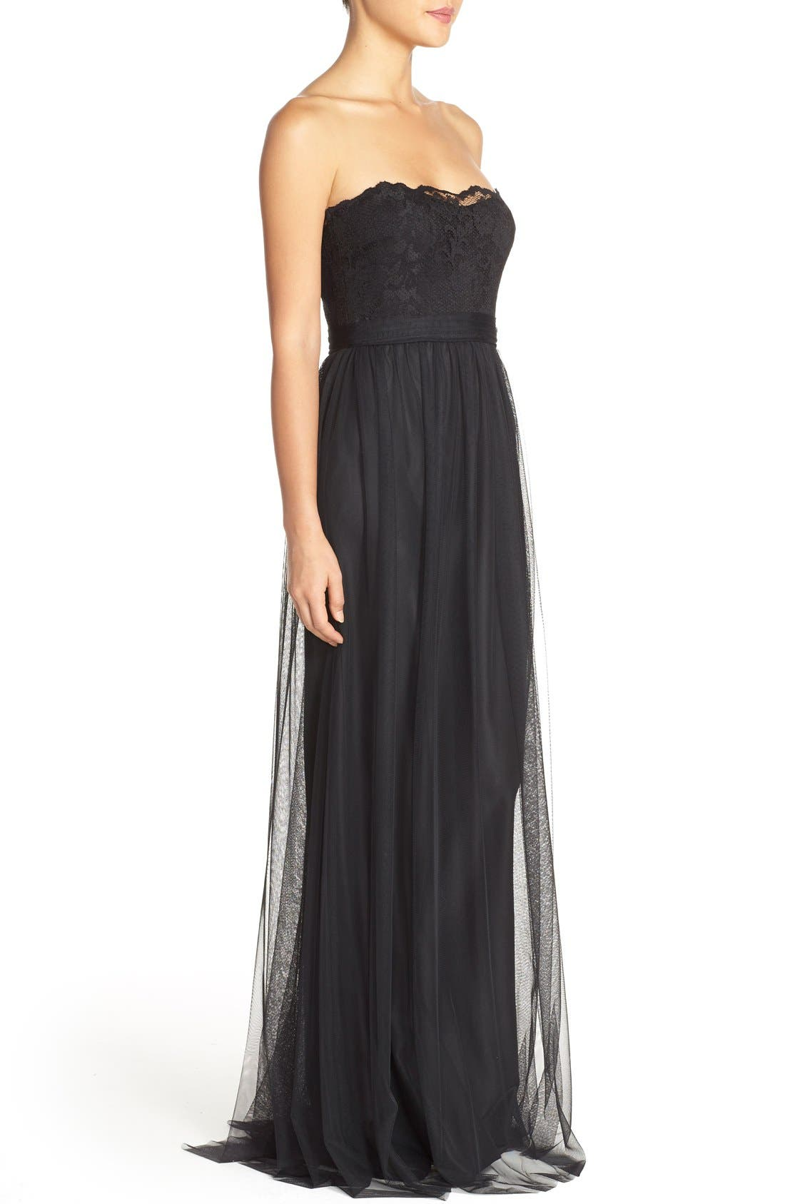 'Calla' Strapless Lace & Tulle Gown,                             Alternate thumbnail 5, color,                             002